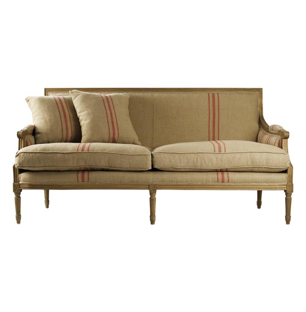 St. Germain French Style Red Stripe Linen Louis Xvi Sofa   Kathy regarding French Style Sofa (Image 24 of 25)