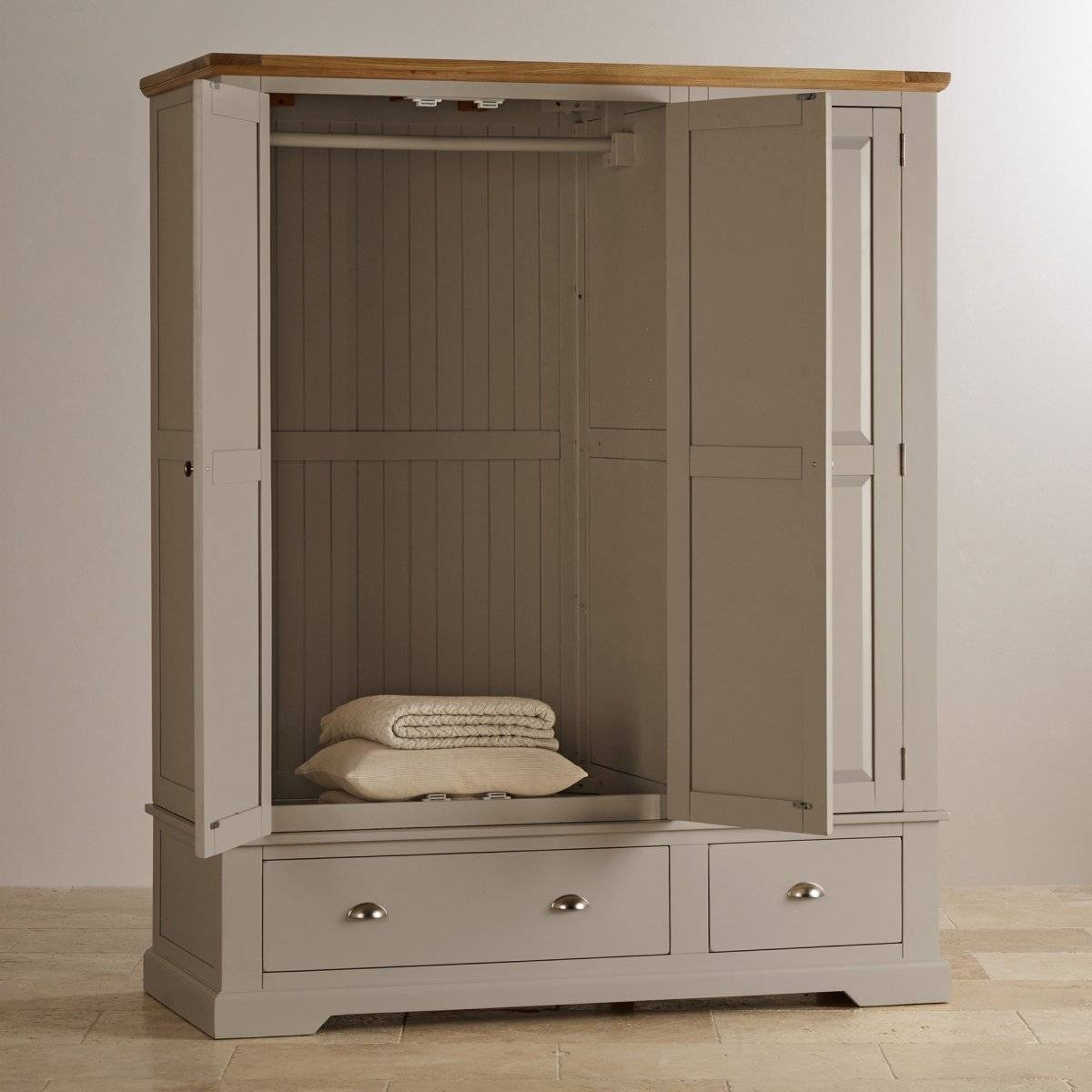 St Ives Grey Painted Triple Wardrobe In Natural Oak intended for Grey Painted Wardrobes (Image 12 of 15)
