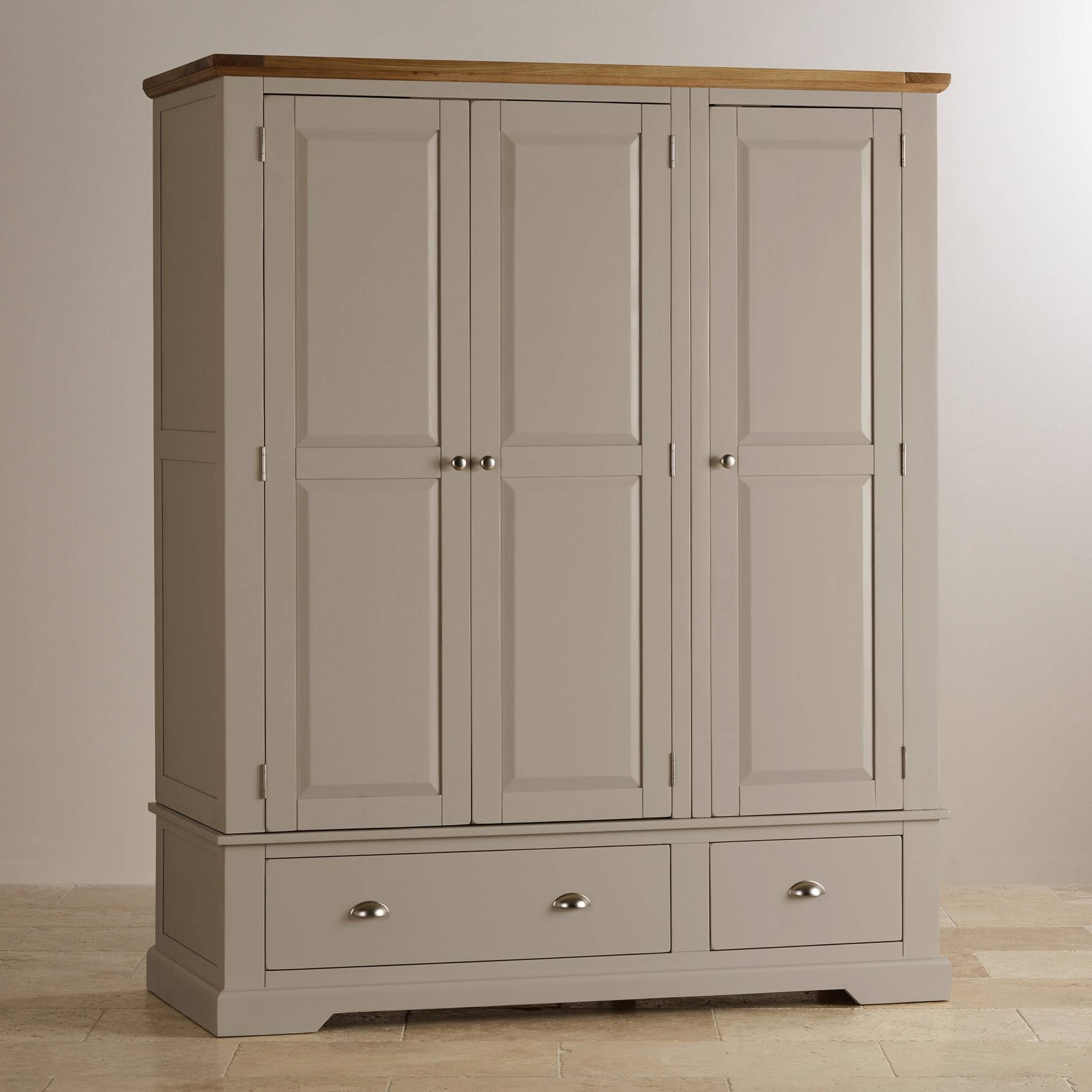St Ives Grey Painted Triple Wardrobe In Natural Oak regarding Cream Triple Wardrobes (Image 15 of 15)