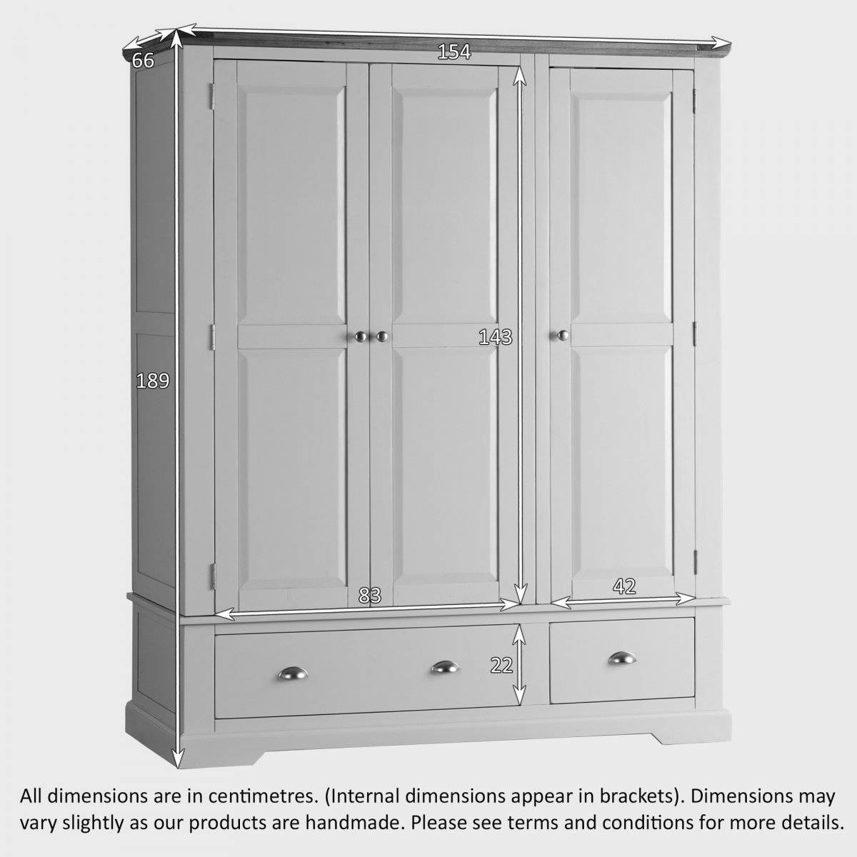 St Ives Grey Painted Triple Wardrobe In Natural Oak within Grey Painted Wardrobes (Image 14 of 15)