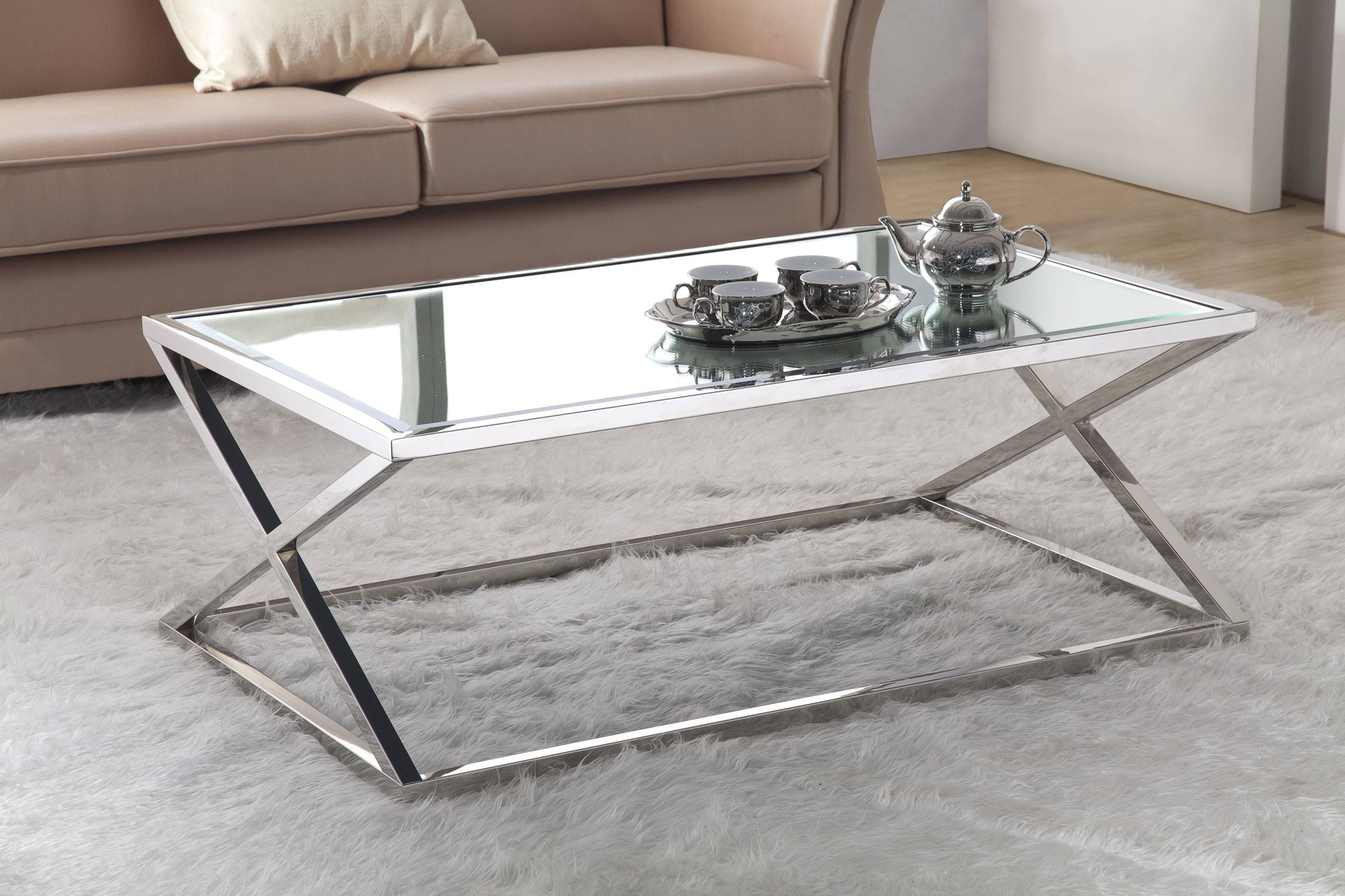 Stainless Steel Coffee Table Cross Legs Base Type Chrome Finish inside Steel And Glass Coffee Tables (Image 26 of 30)