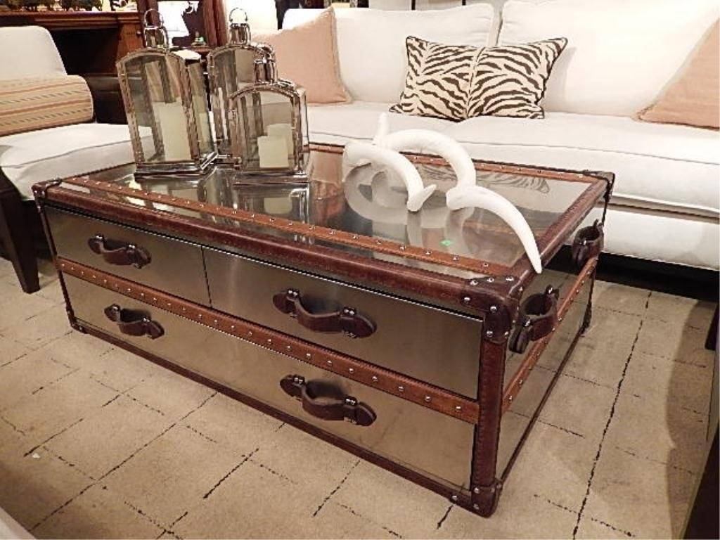 Stainless Steel Coffee Table Tables Trunk / Thippo Regarding Steamer Trunk Stainless Steel Coffee Tables (View 18 of 30)