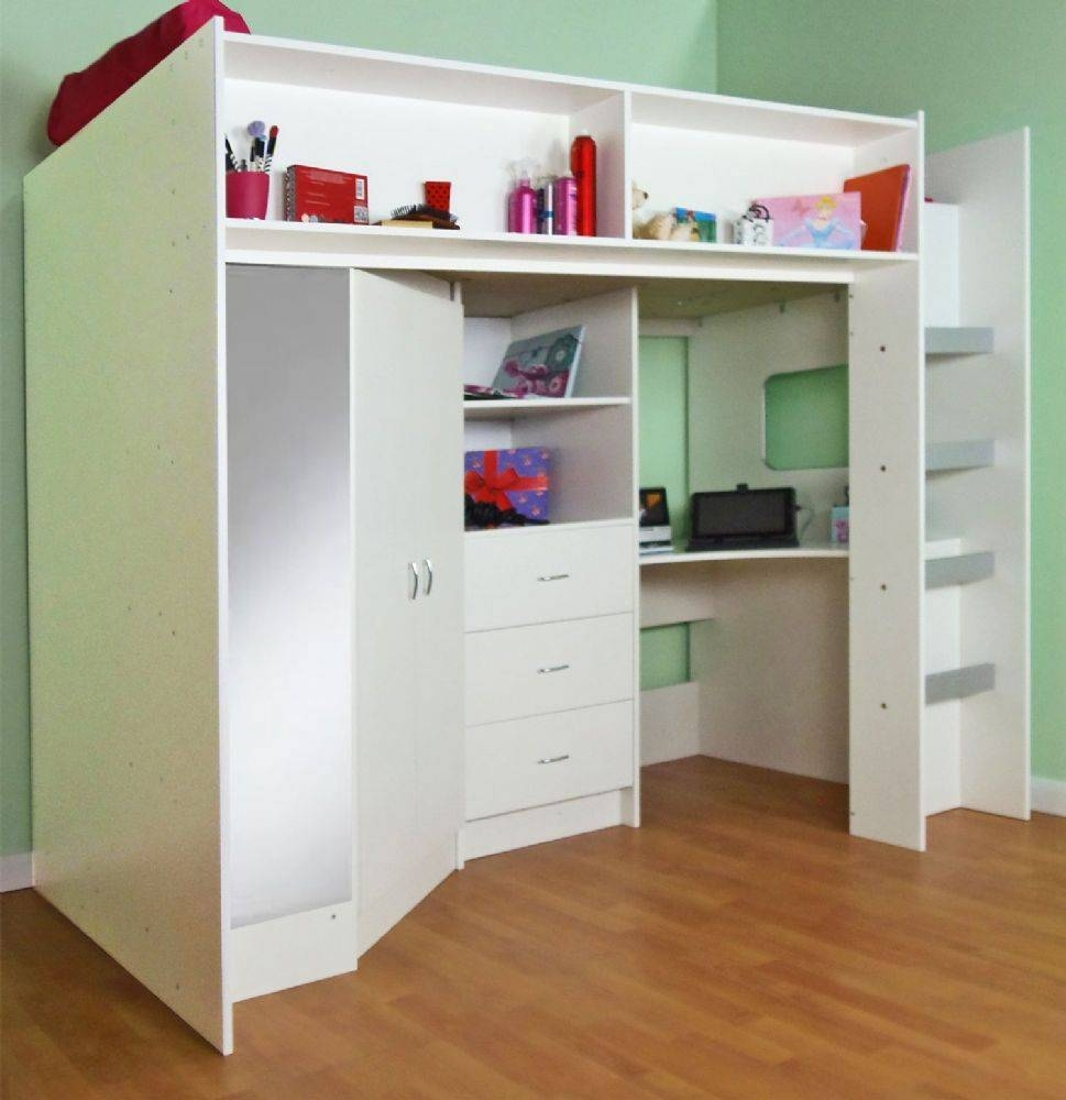 Stamford High Sleeper Cabin Bed with Kids Cabin Beds With Wardrobes (Image 14 of 15)