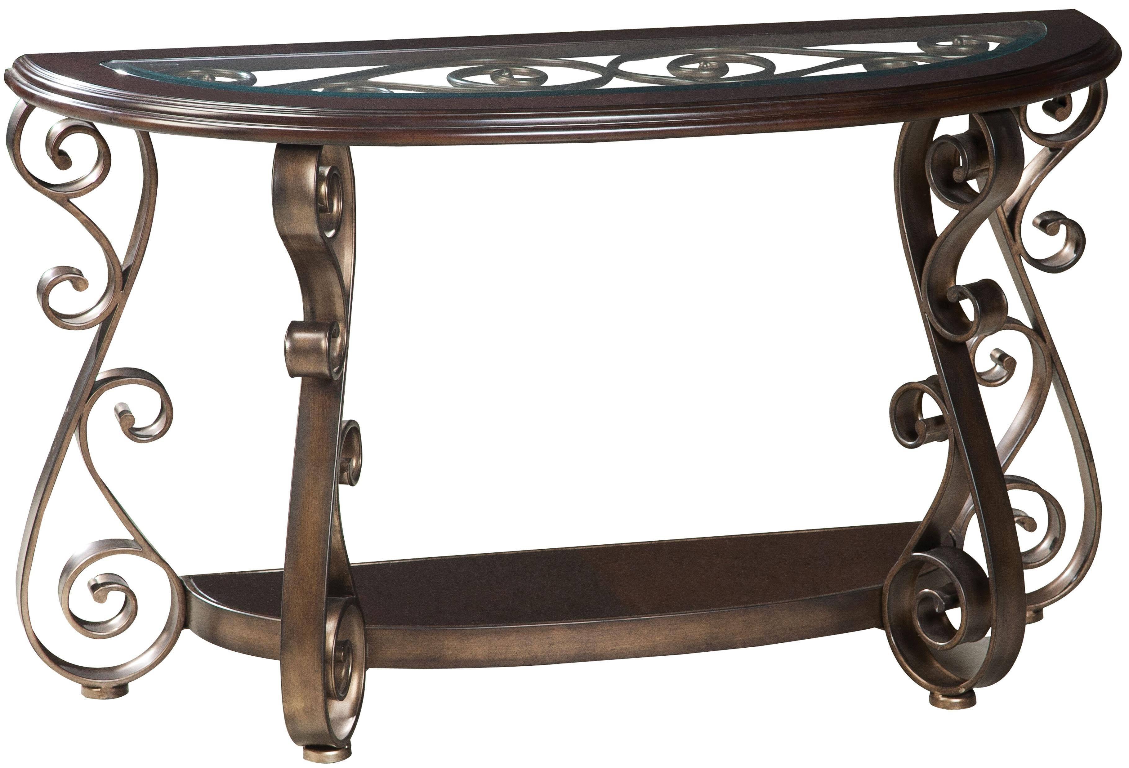 Standard Furniture Bombay Old World Sofa Table With Glass Top And inside Sofa Table Chairs (Image 28 of 30)