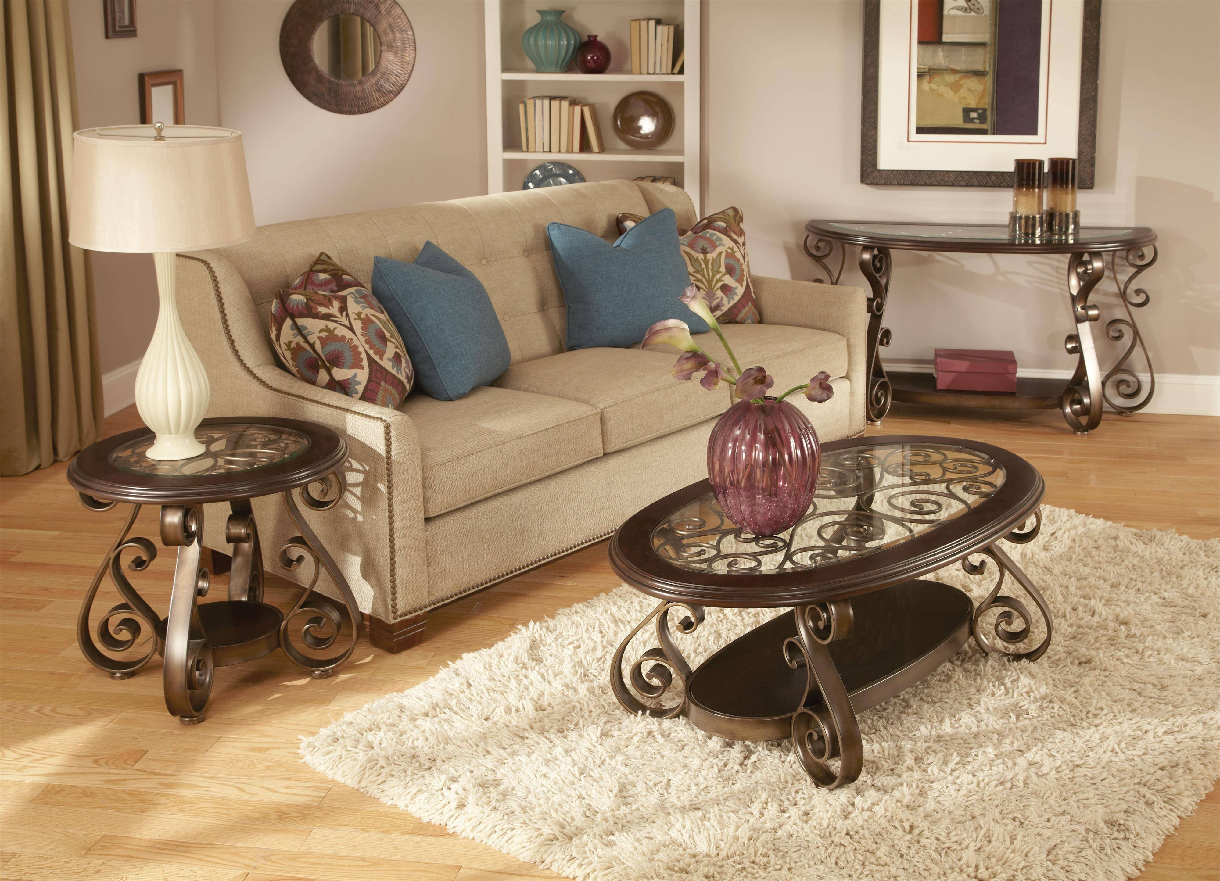 Standard Furniture Bombay Old World Sofa Table With Glass Top And with Sofa Table Chairs (Image 29 of 30)