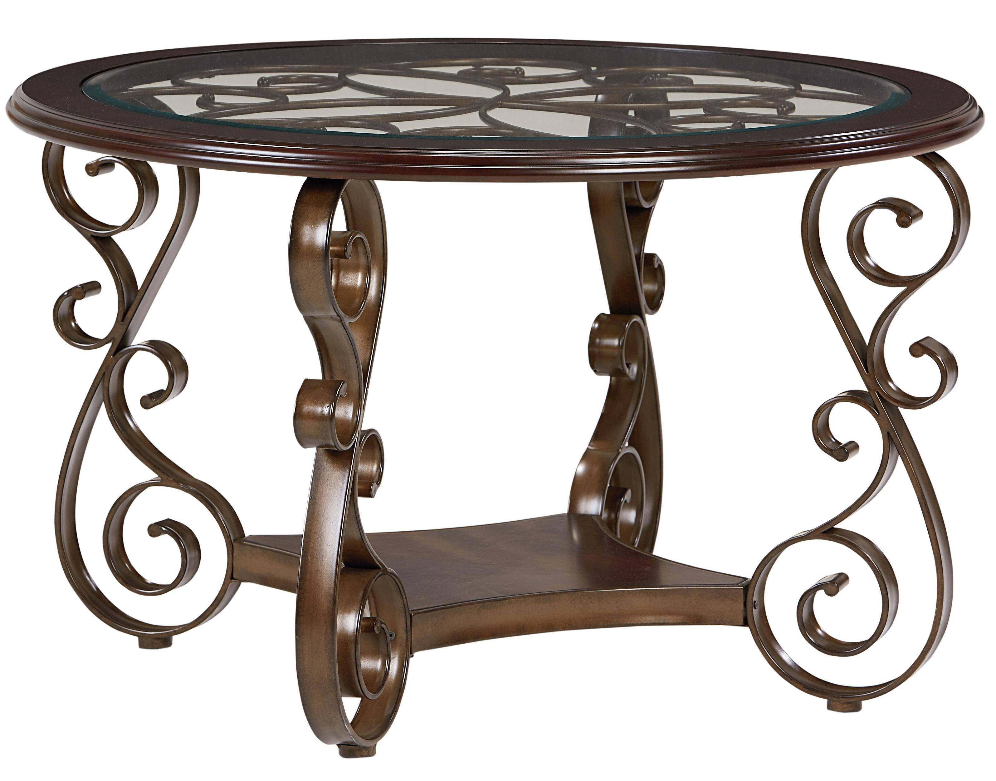 Standard Furniture Bombay Round Dining Table With Metal Scroll Within Bombay Coffee Tables (Photo 12 of 30)