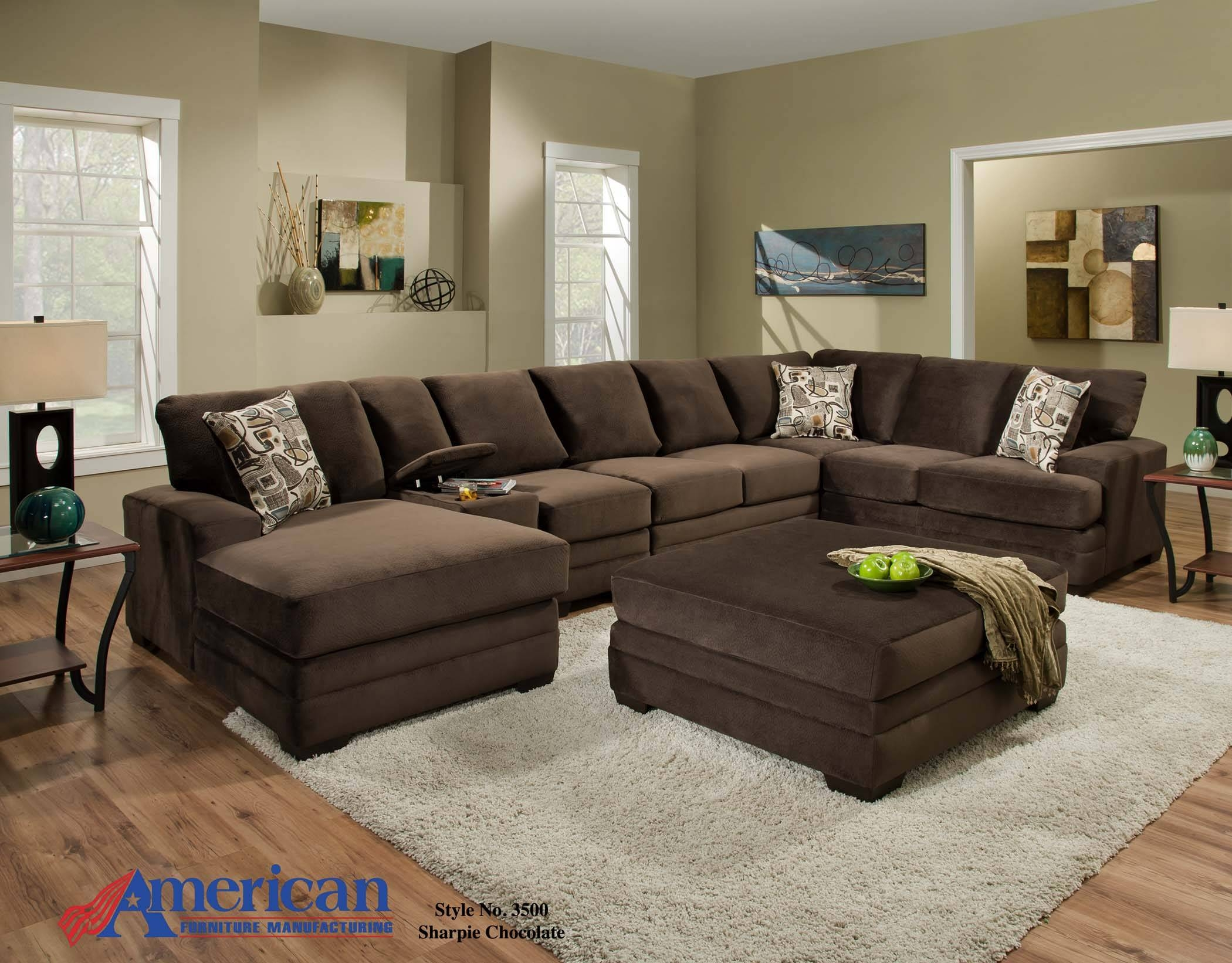 Stationary – Sectional within Chocolate Brown Sectional Sofa (Image 28 of 30)
