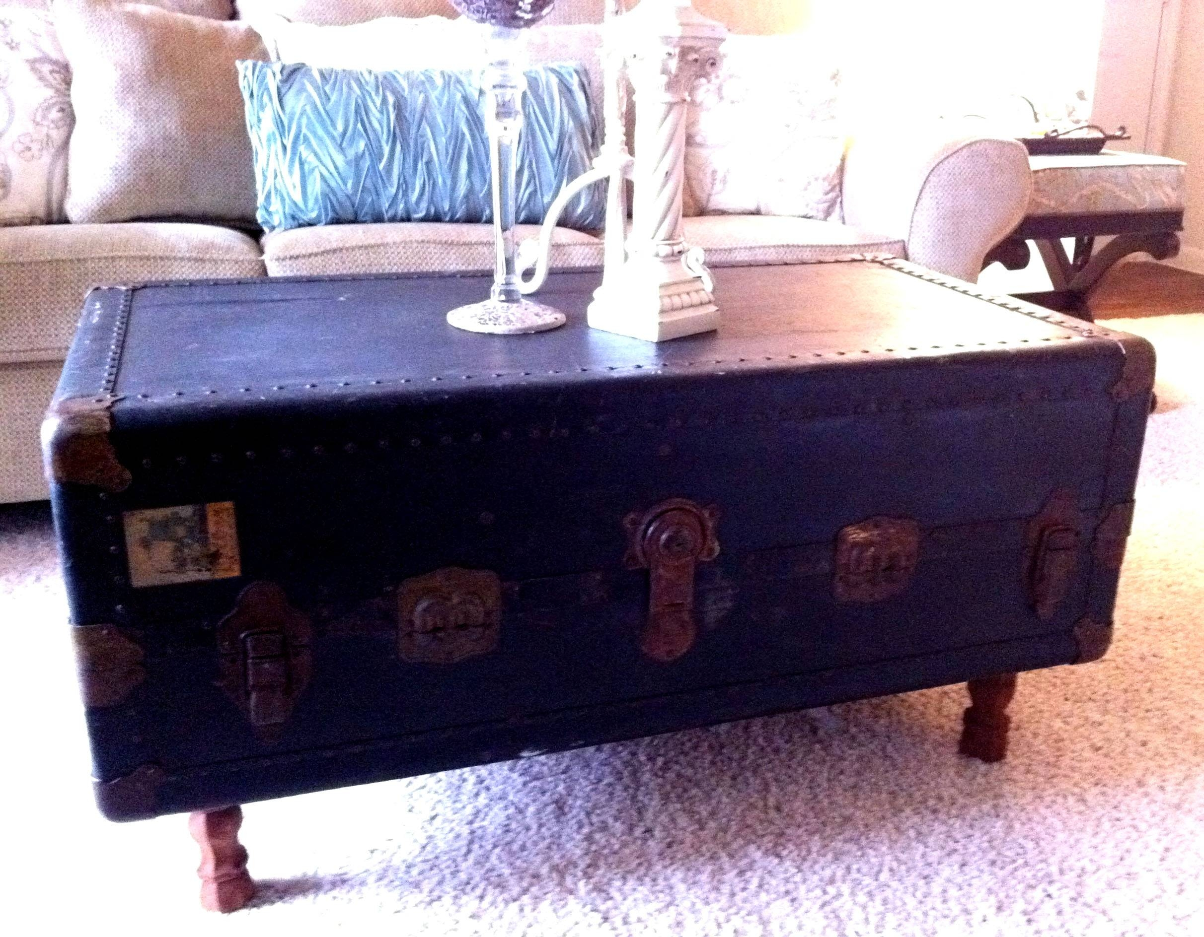 Steamer Trunk Coffee Table: Repurposing Old Stuff | Motifbrophy with regard to Old Trunks As Coffee Tables (Image 25 of 30)