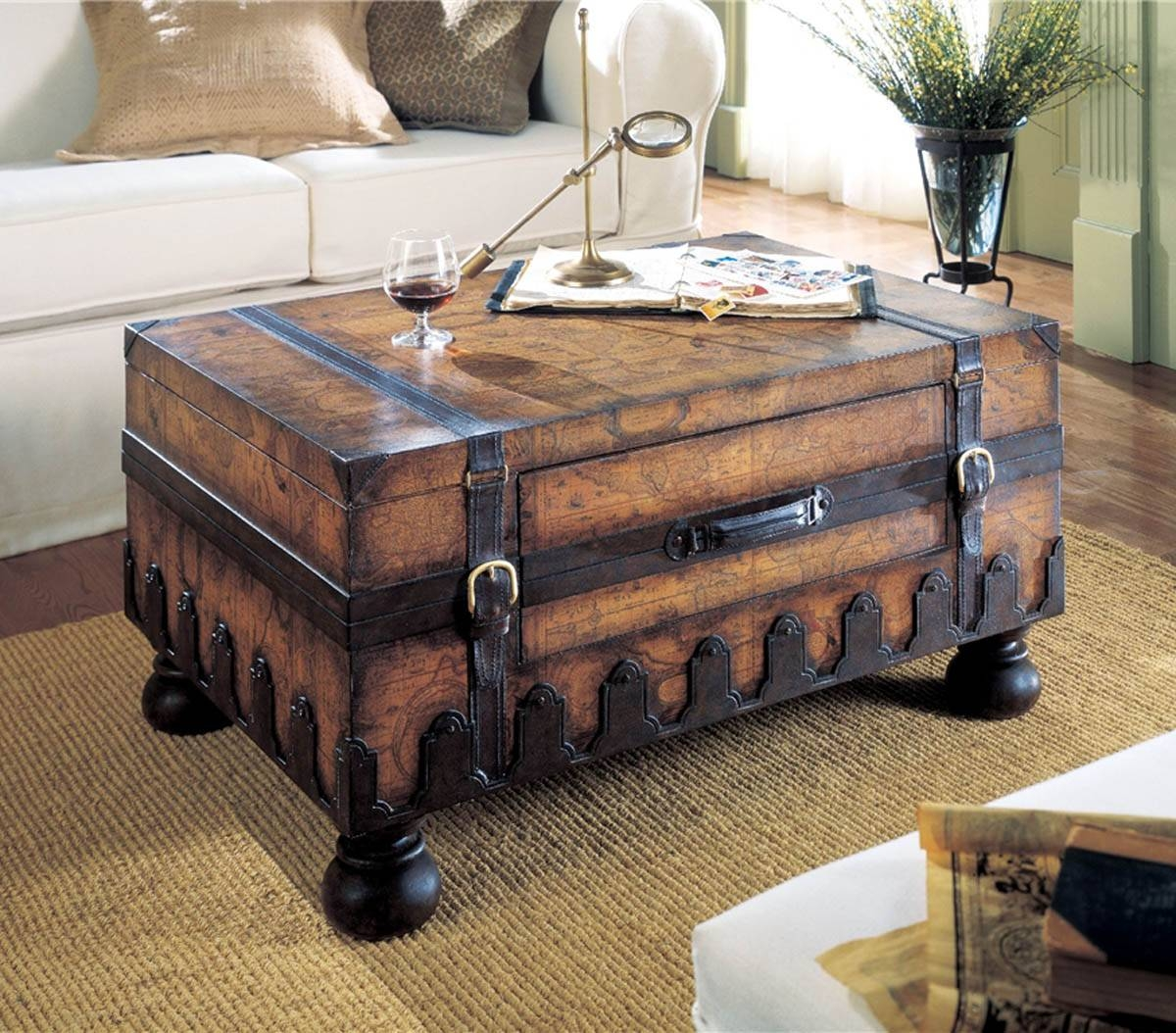 Steamer Trunk Coffee Table Stainless Steel in Stainless Steel Trunk Coffee Tables (Image 20 of 30)
