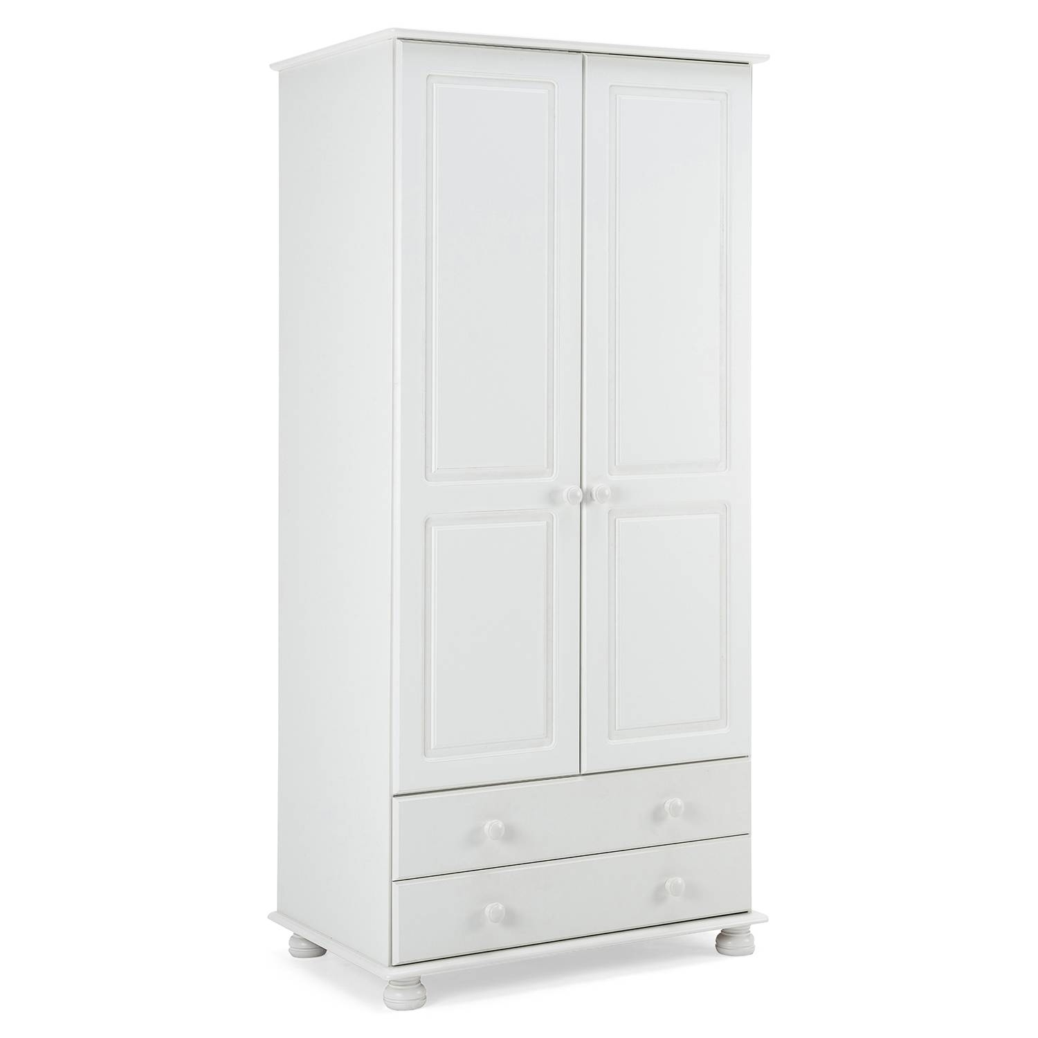 Steens Richmond 2 Door Combi Wardrobe In White – Next Day Delivery Intended For Combi Wardrobes (Gallery 8 of 15)