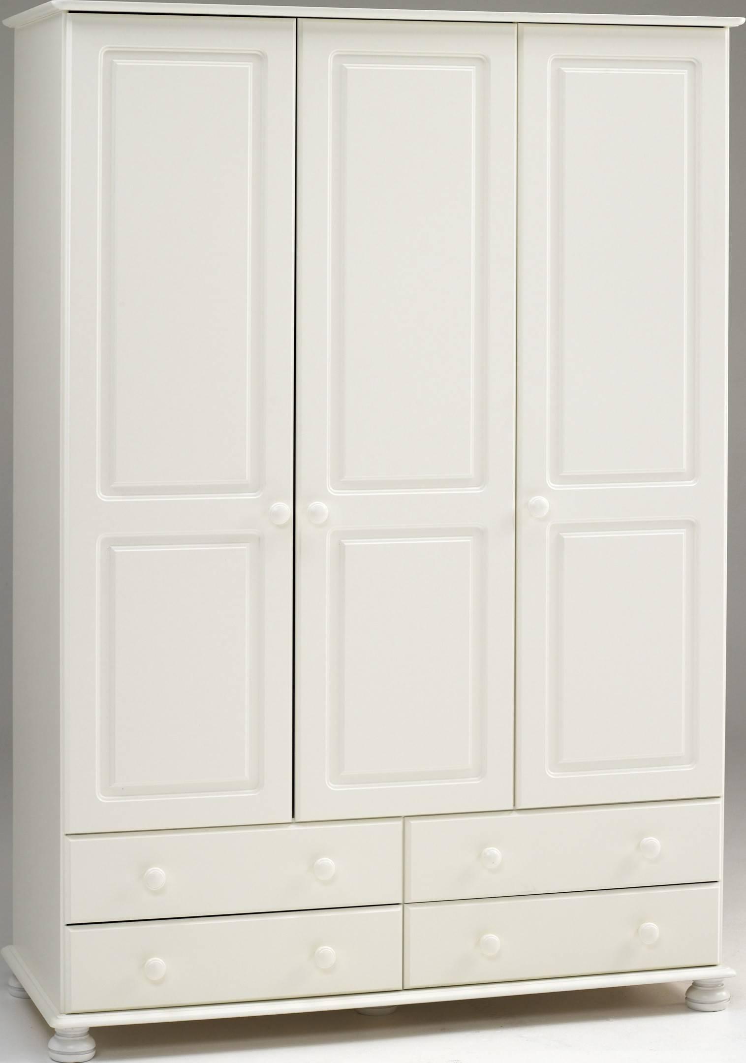 Steens Richmond White 3 Door 4 Drawer Wardrobe within White 3 Door Wardrobes With Drawers (Image 12 of 15)