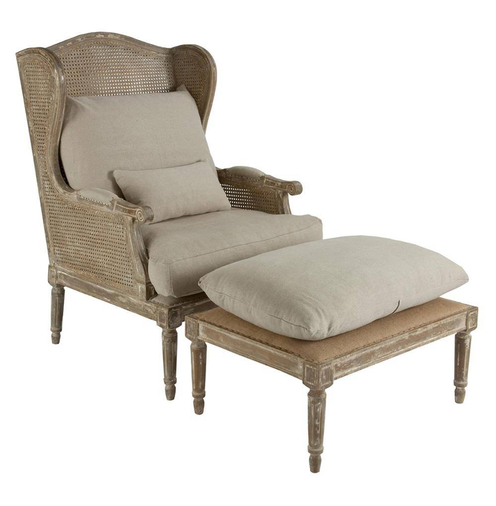 Stephen Hemp French Country Wing Back Chair With Ottoman | Kathy regarding Sofa Chair With Ottoman (Image 29 of 30)