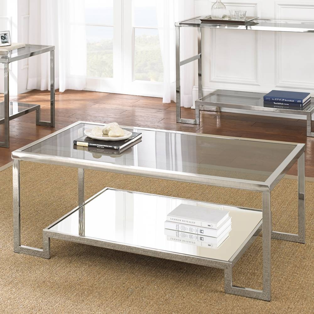 Steve Silver Churchill Glass Top Cocktail Table – Beyond Stores Intended For Glass And Silver Coffee Tables (View 27 of 30)