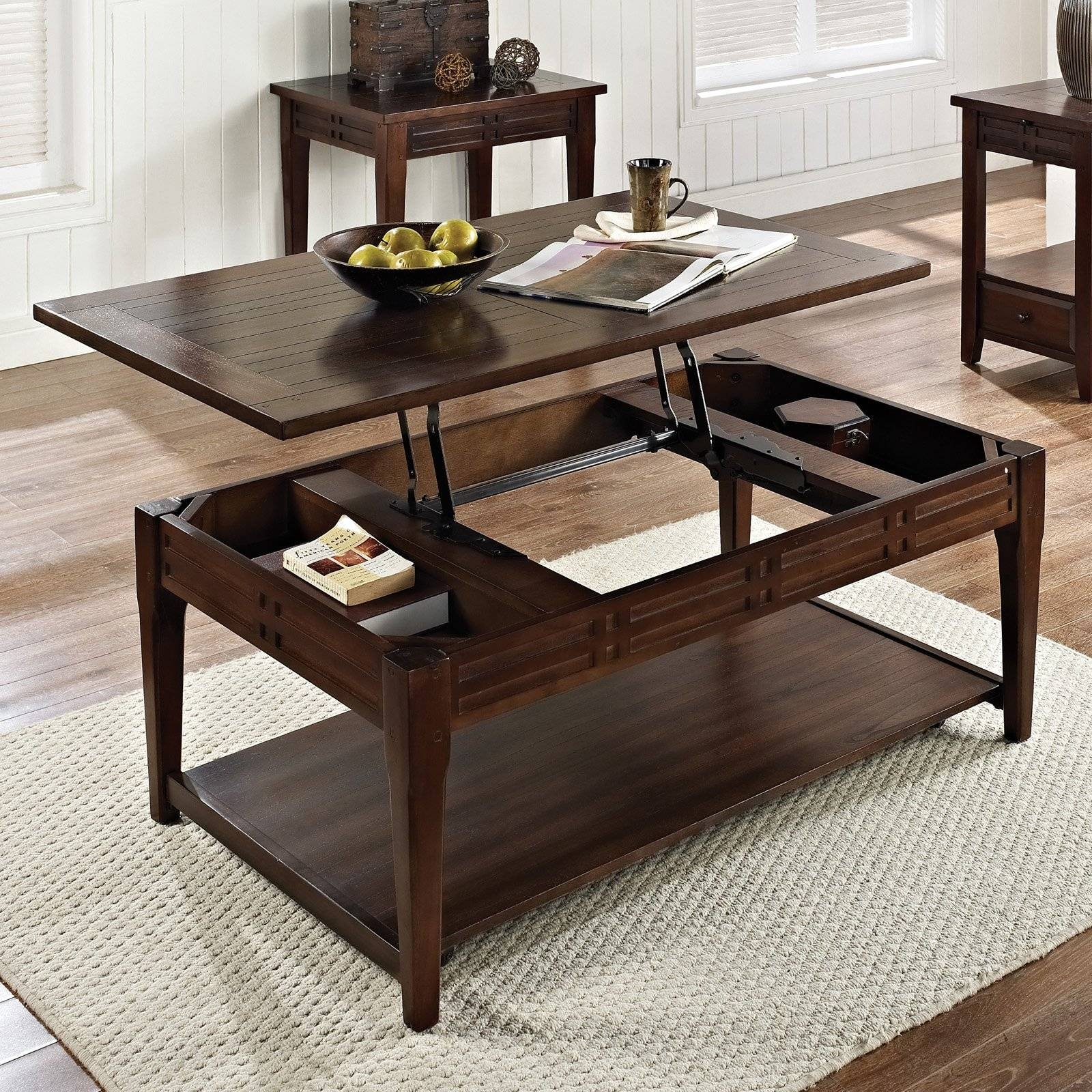 Steve Silver Crestline Rectangle Distressed Walnut Wood Lift Top In Lift Coffee Tables (View 6 of 30)