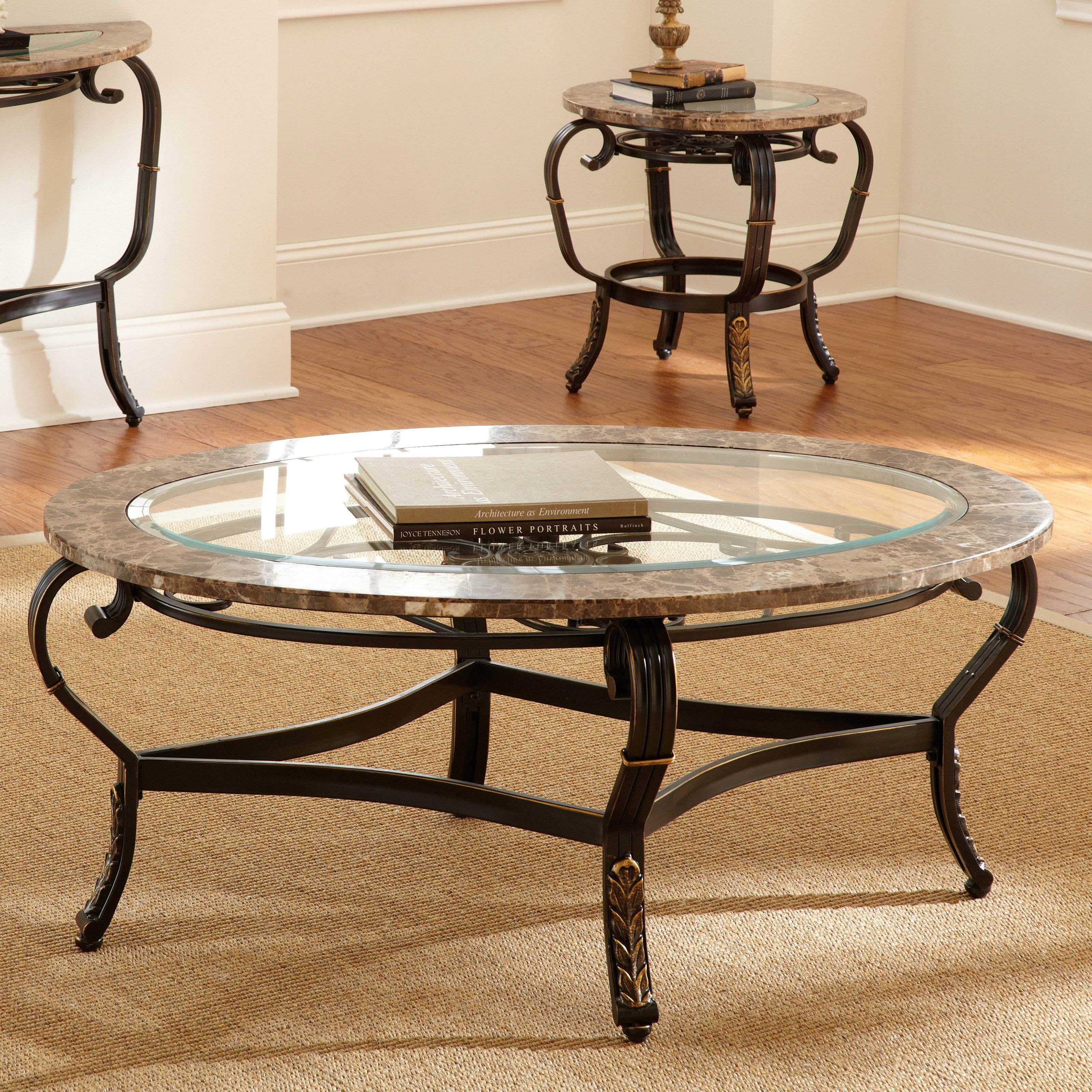 Steve Silver Gallinari Oval Marble And Glass Top Coffee Table pertaining to Marble And Metal Coffee Tables (Image 27 of 30)