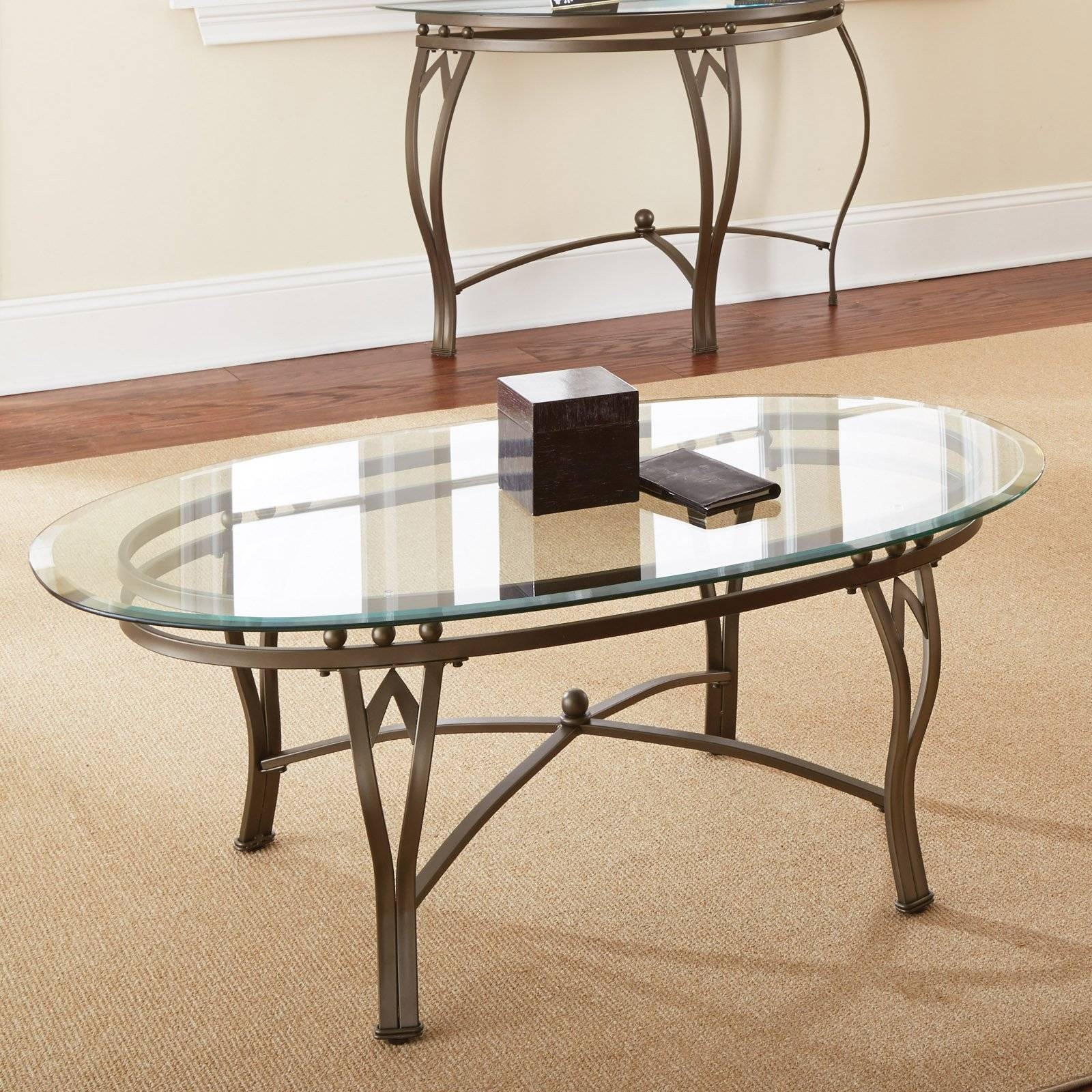 Steve Silver Gallinari Oval Marble And Glass Top Coffee Table Throughout Glass And Silver Coffee Tables (View 28 of 30)