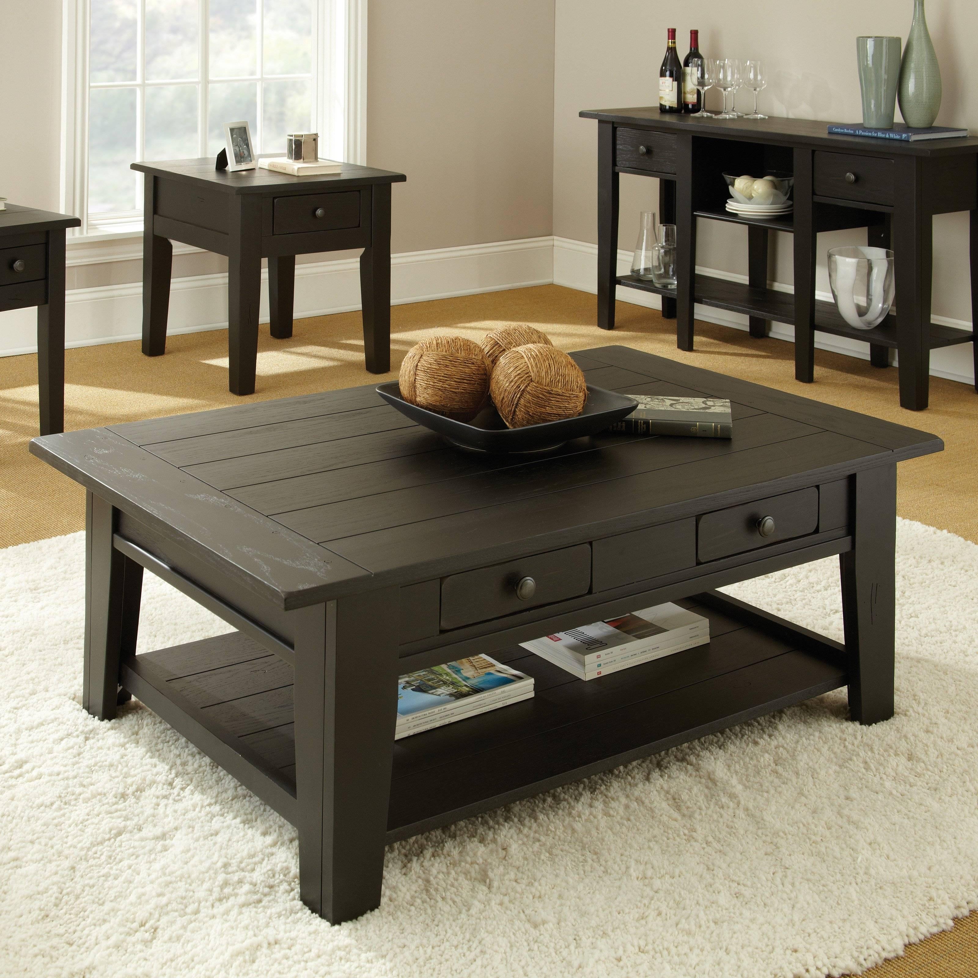 Steve Silver Liberty Rectangle Oak Wood Coffee Table - Coffee intended for Black Wood Coffee Tables (Image 30 of 30)