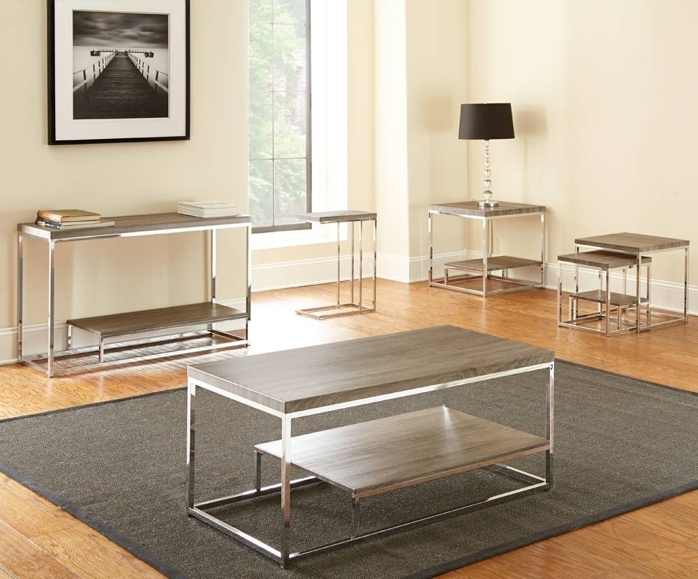 Steve Silver Lucia 5 Piece Coffee Table Set In Grey & Brown for Grey Coffee Table Sets (Image 29 of 30)