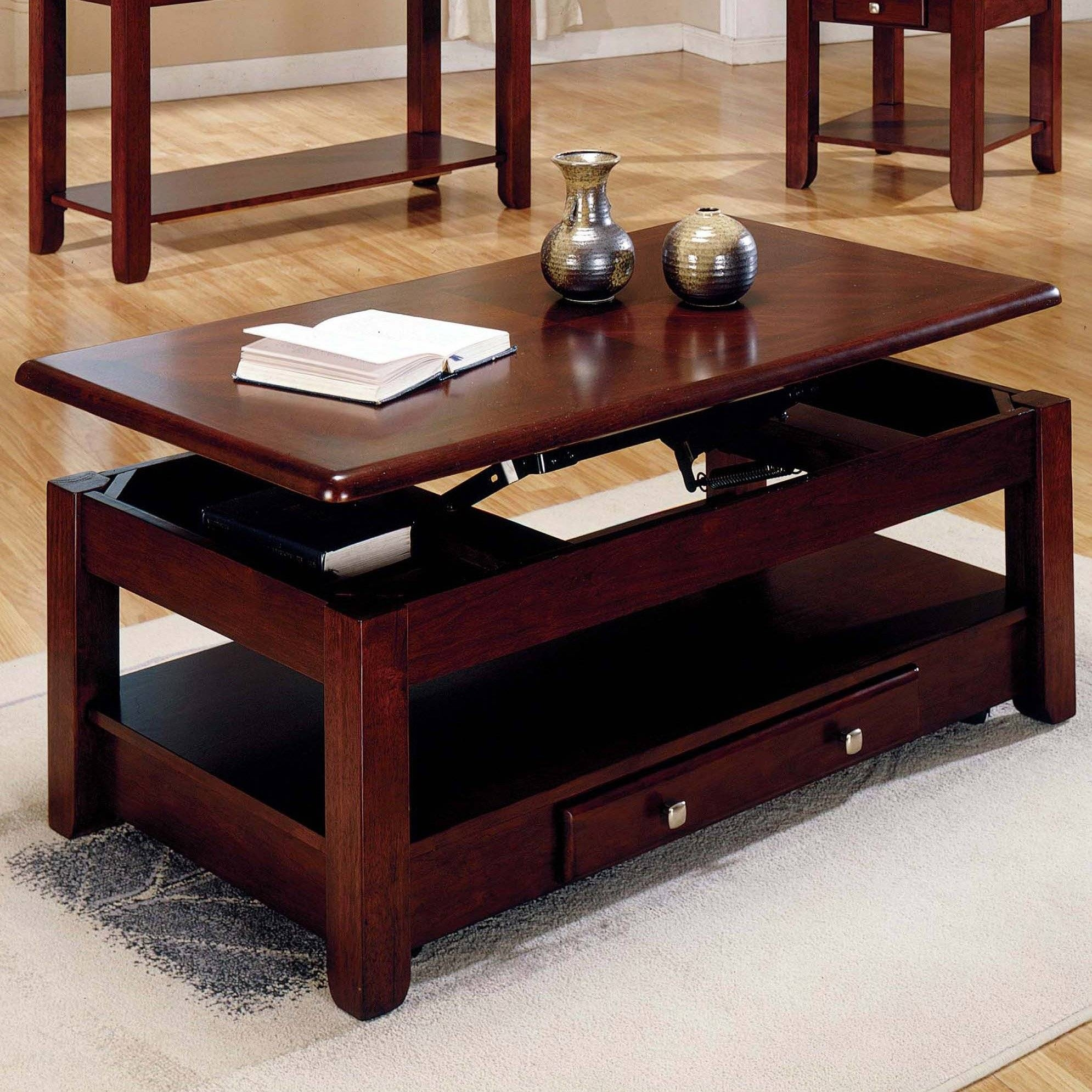 Steve Silver Nelson Lift Top Cocktail Table With Casters - Cherry pertaining to Lift Top Coffee Tables With Storage (Image 25 of 30)