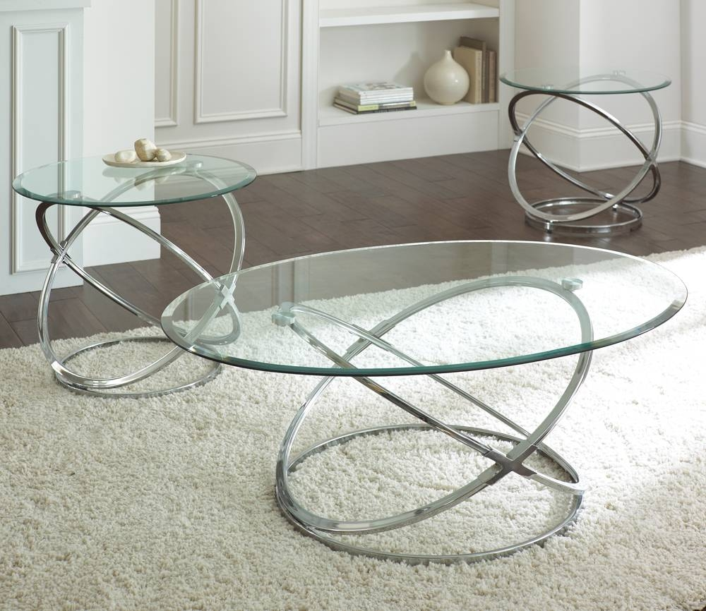 Steve Silver Orion 3 Piece Glass Top Coffee Table Set W/ Chrome pertaining to Glass and Chrome Coffee Tables (Image 26 of 30)