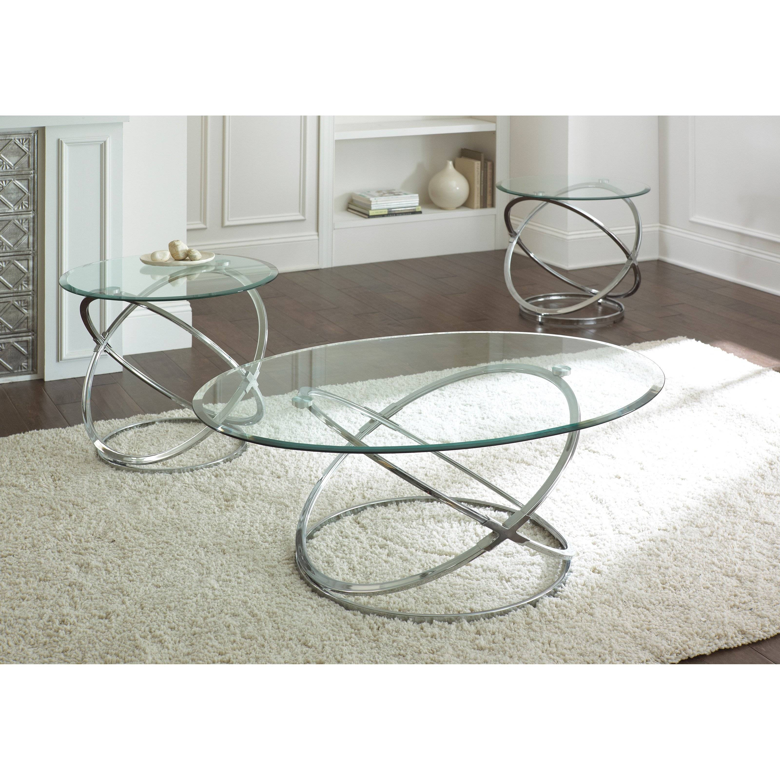 Steve Silver Orion Oval Chrome And Glass Coffee Table Set - Coffee inside White And Chrome Coffee Tables (Image 28 of 30)