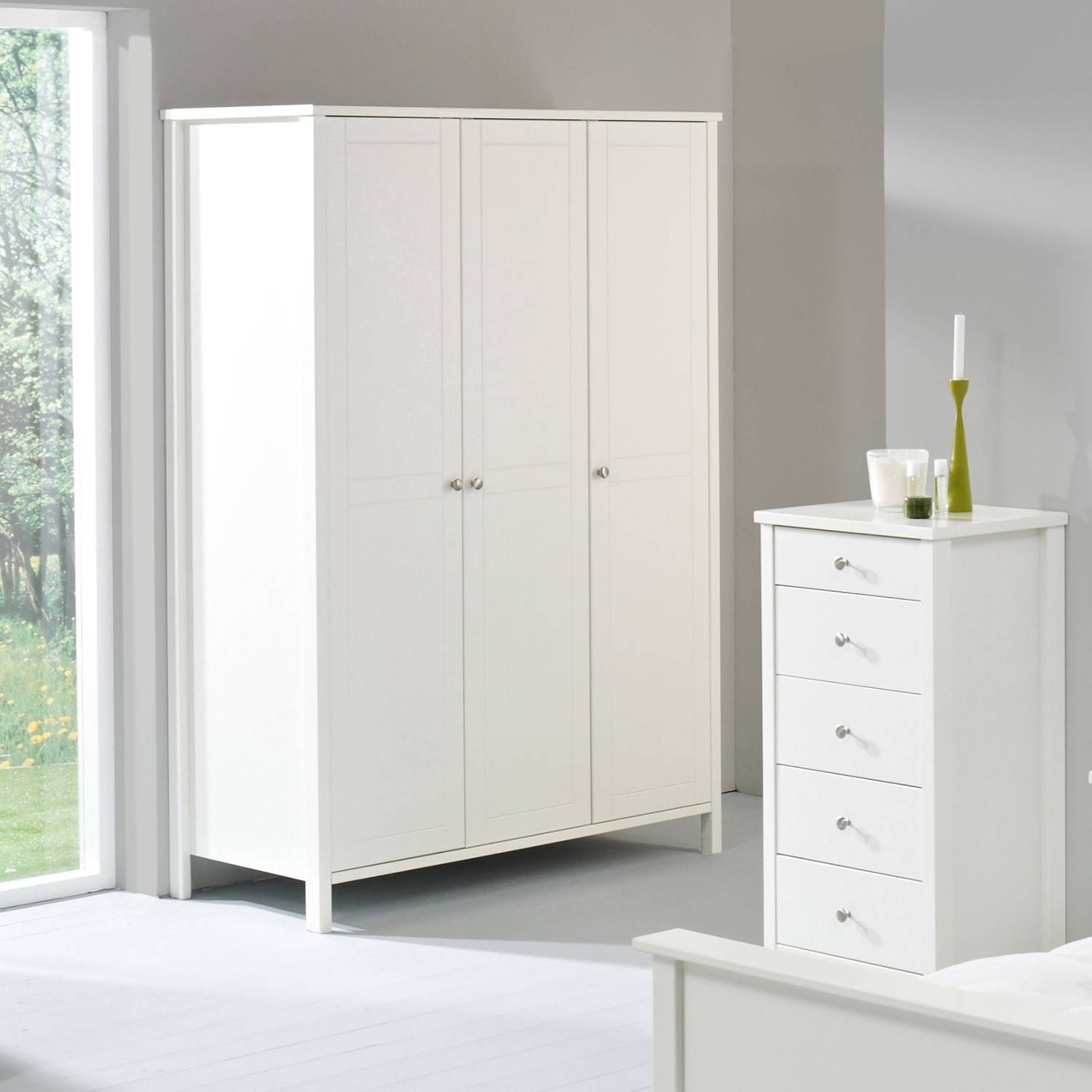Stockholm White 3 Door Wardrobe | Bedroom Furniture Direct for White 3 Door Wardrobes With Drawers (Image 13 of 15)