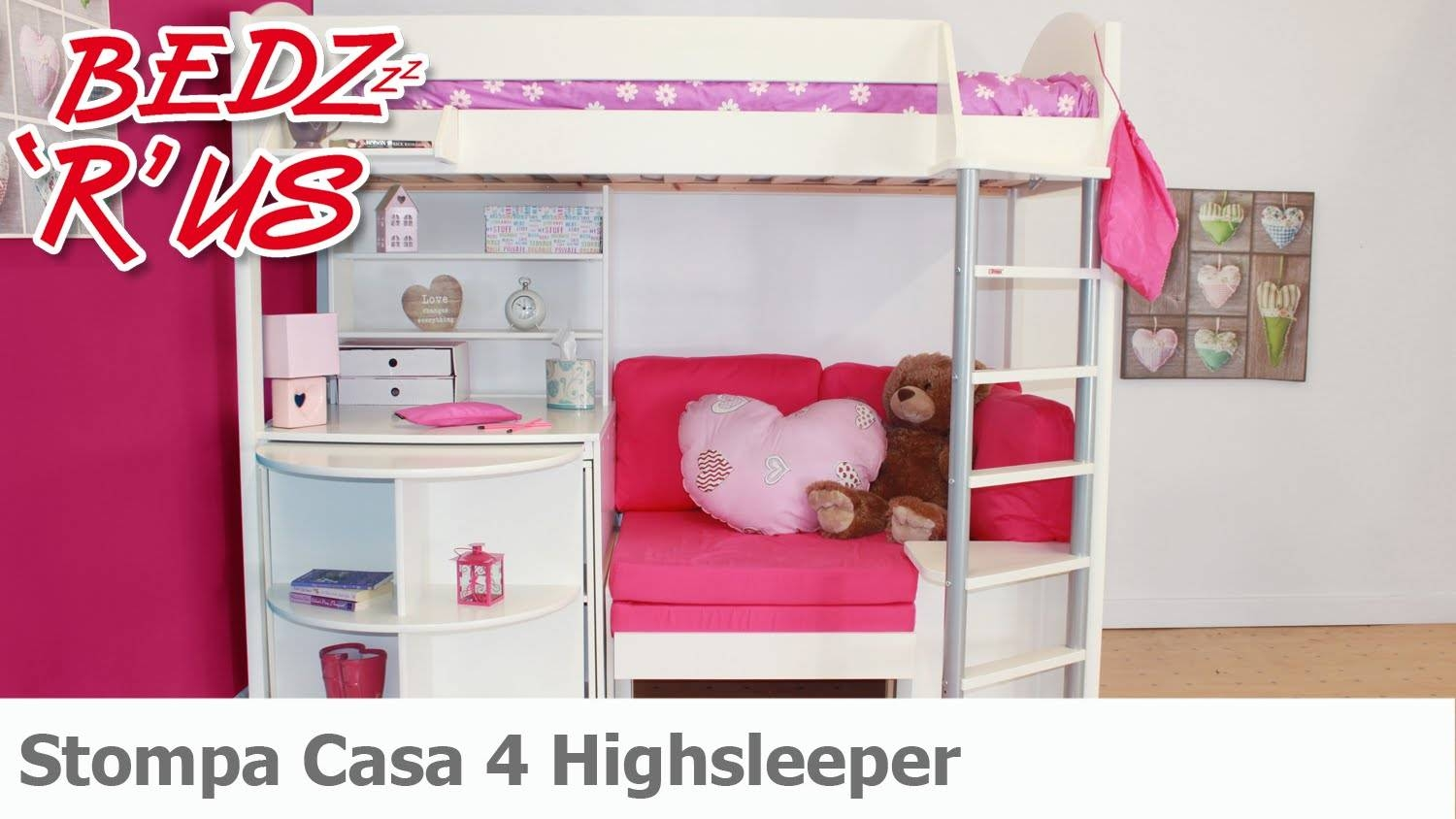 Stompa Casa 4 Highsleeper Bed - Bedzrus - Youtube with High Sleeper With Desk and Sofa Bed (Image 23 of 30)