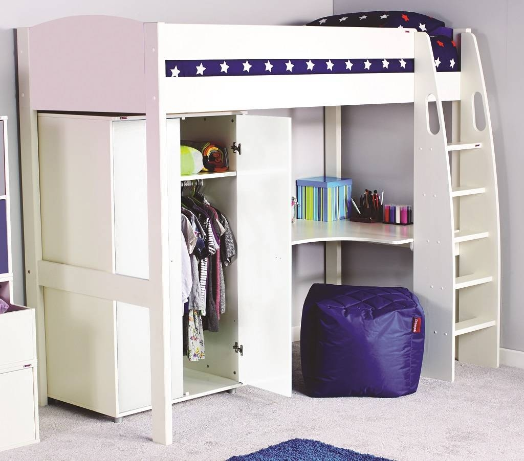 Stompa Uno-S Highsleeper With Wardrobe - Rainbow Wood pertaining to High Sleeper With Wardrobes And Desk (Image 14 of 15)
