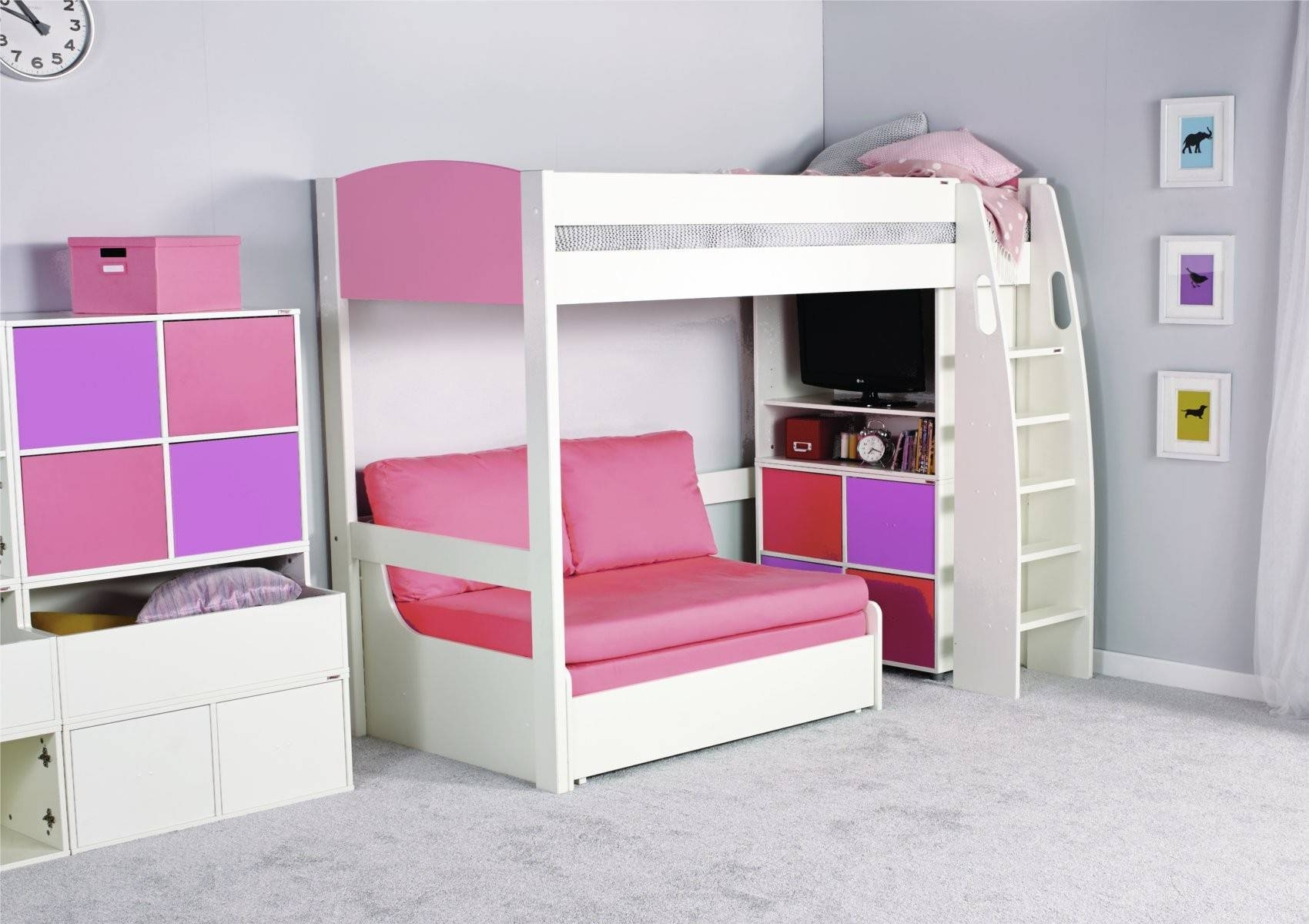 Stompa Unos Double Sofa Bed - Pink - Furniture throughout High Sleeper With Desk and Sofa Bed (Image 25 of 30)