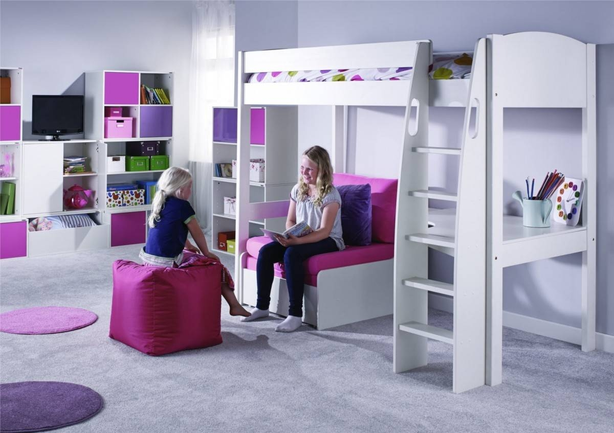 Stompa Unos High Sleeper Frame With Desk And Chair Bed Only in High Sleeper With Desk and Sofa (Image 27 of 30)