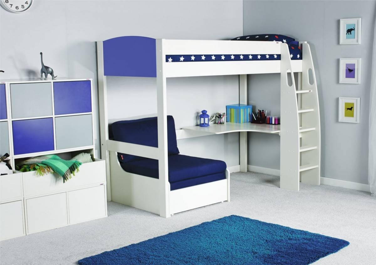 Stompa Unos High Sleeper Frame With Desk And Chair Bed Only inside High Sleeper With Desk And Sofa (Image 28 of 30)