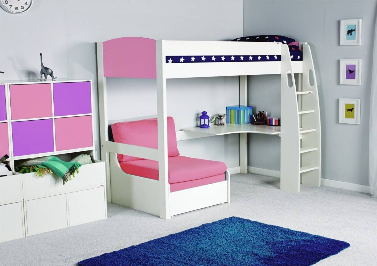 Stompa Unos High Sleeper Frame With Desk And Chair Bed Only with regard to High Sleeper Bed With Sofa (Image 24 of 30)