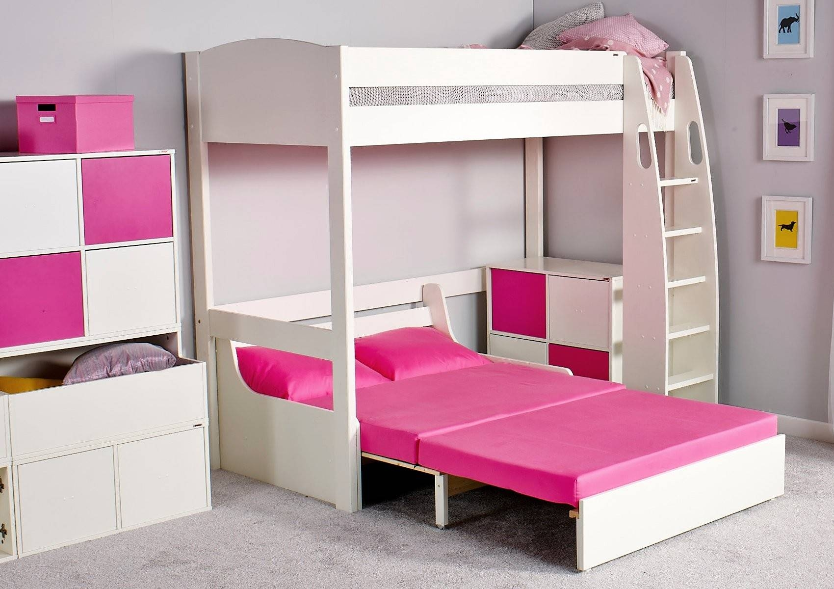 Stompa Unos High Sleeper Frame With Double Sofa Bed Only - Boys intended for High Sleeper With Sofa and Desk (Image 19 of 25)