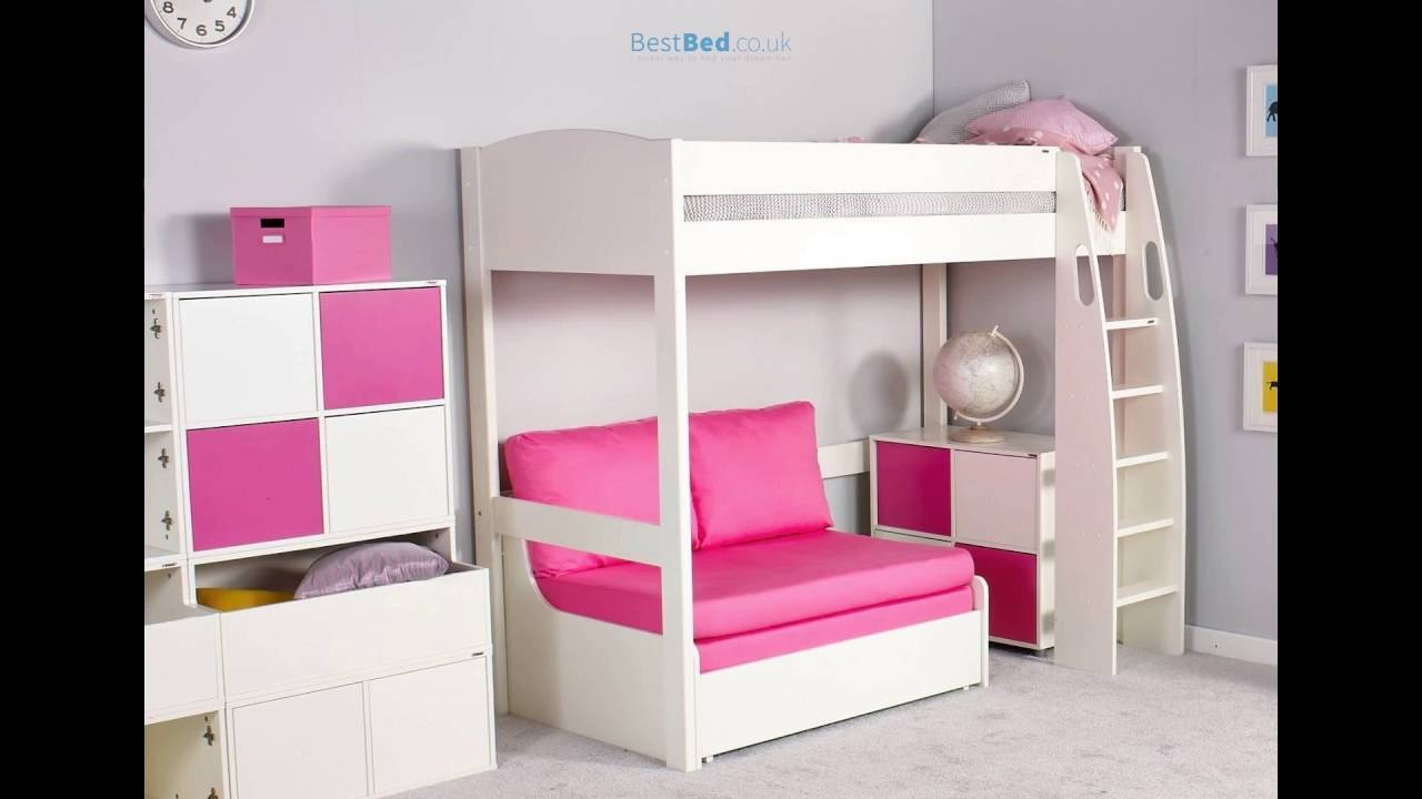 Stompa Unos High Sleeper Frame With Double Sofa Bed Only - Youtube regarding High Sleeper With Desk and Sofa Bed (Image 29 of 30)