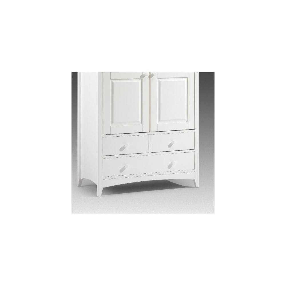 Stone White 2 Door Combination Wooden Wardrobe for Cameo 2 Door Wardrobes (Image 11 of 15)