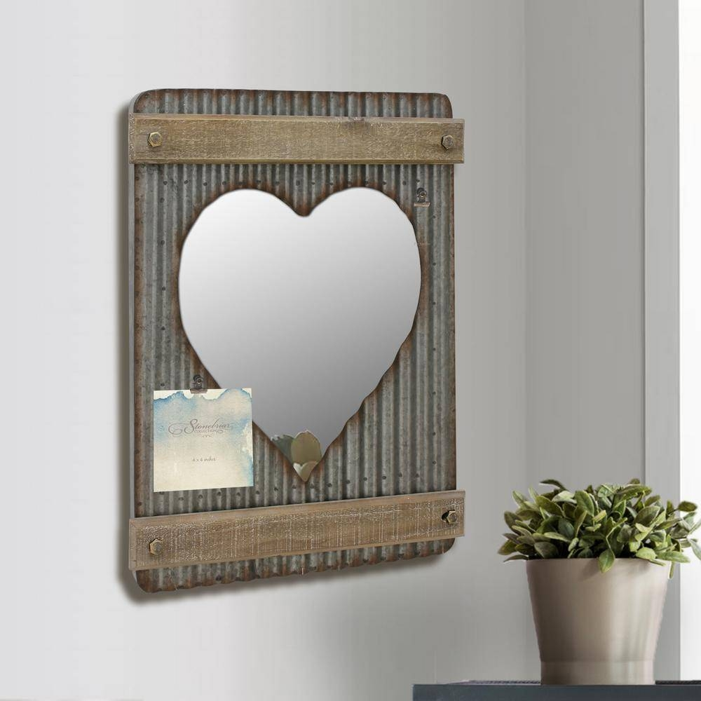 Stonebriar Collection 15 In. X 20 In. Silver Corrugated Metal And regarding Heart Wall Mirrors (Image 23 of 25)