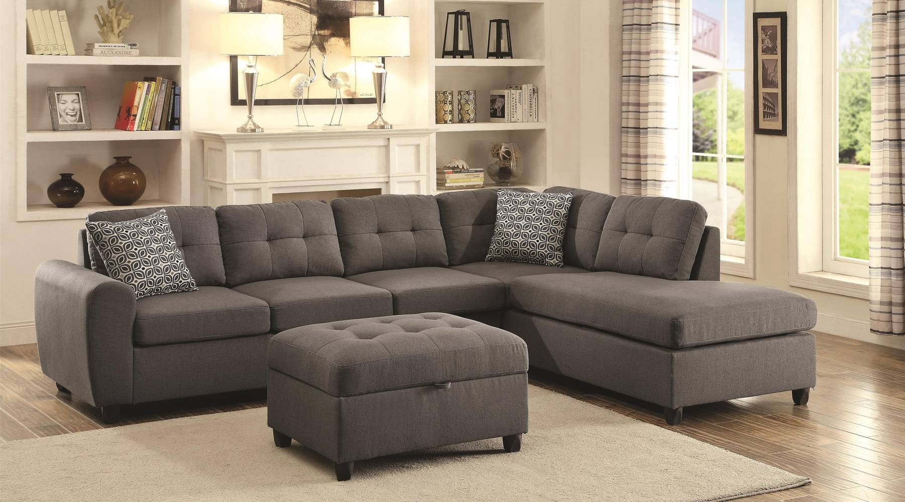 Stonenesse Sectional Sofa 500413 Coaster Furniture Sectional Sofas within Extra Wide Sectional Sofas (Image 29 of 30)
