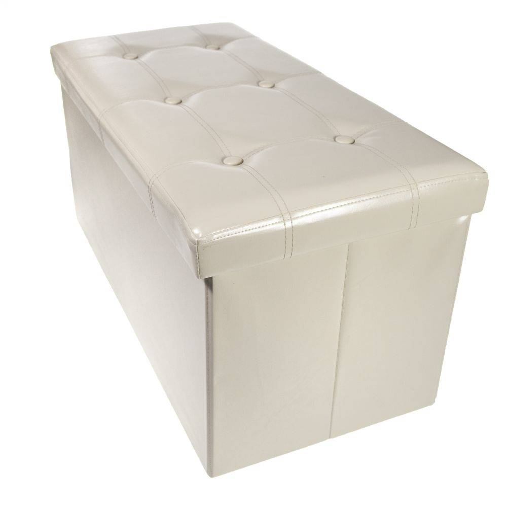 Storage Bench Ottoman Faux Leather Foldable Collapsible Foot Rest for Coffee Table Footrests (Image 27 of 30)