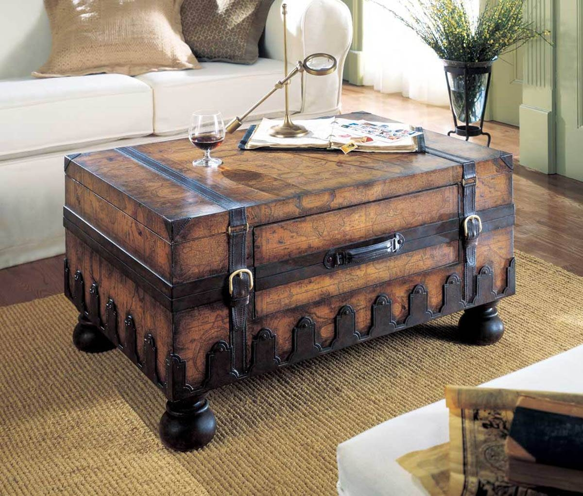 Storage Chest Coffee Table Wood Trunk Coffee Table Rustic Chest pertaining to Wooden Trunks Coffee Tables (Image 21 of 30)
