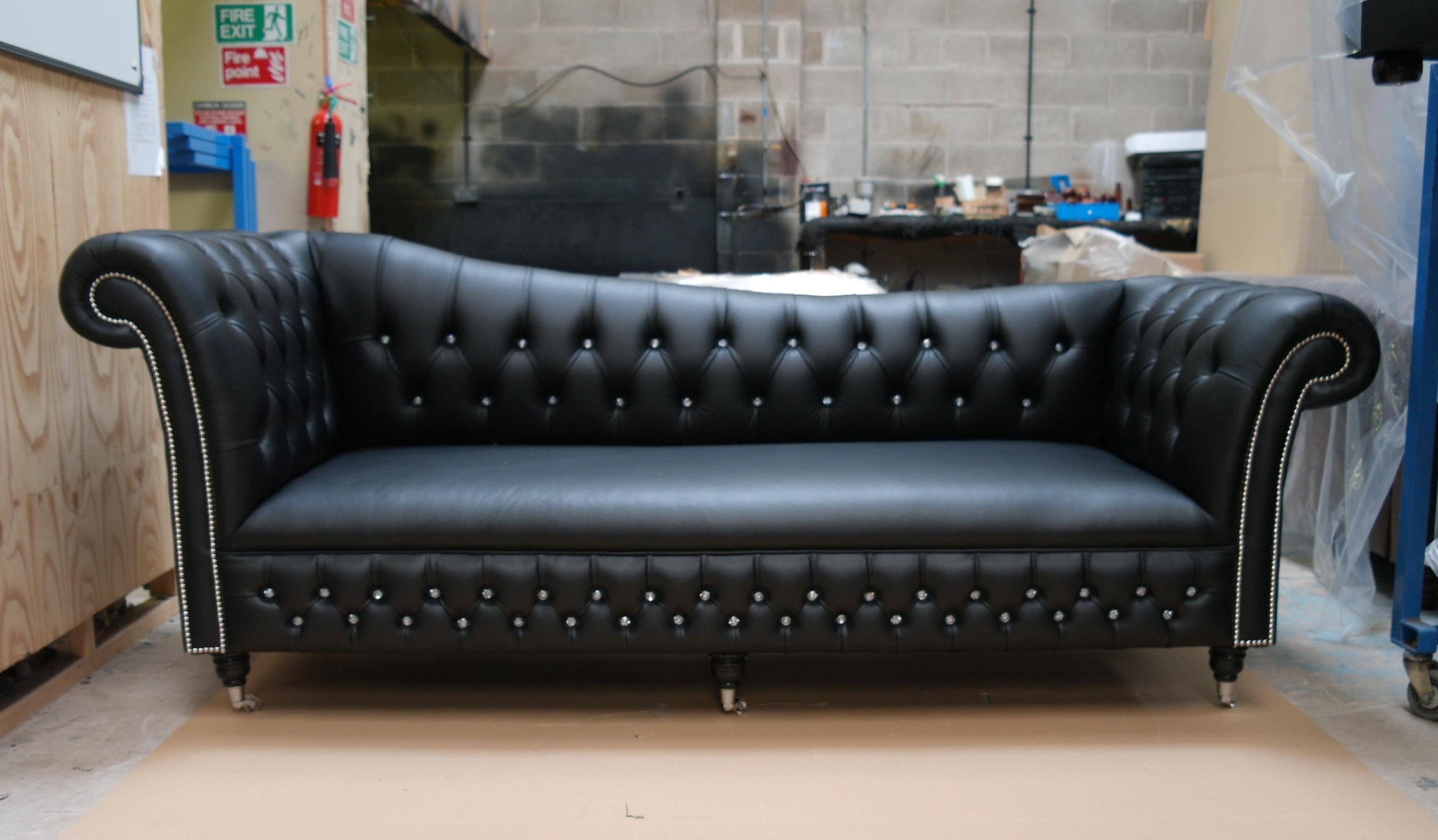 Storage Chesterfield Velvet Effect Small Sofa Black Best Sofa Intended For Chesterfield Black Sofas (View 24 of 30)