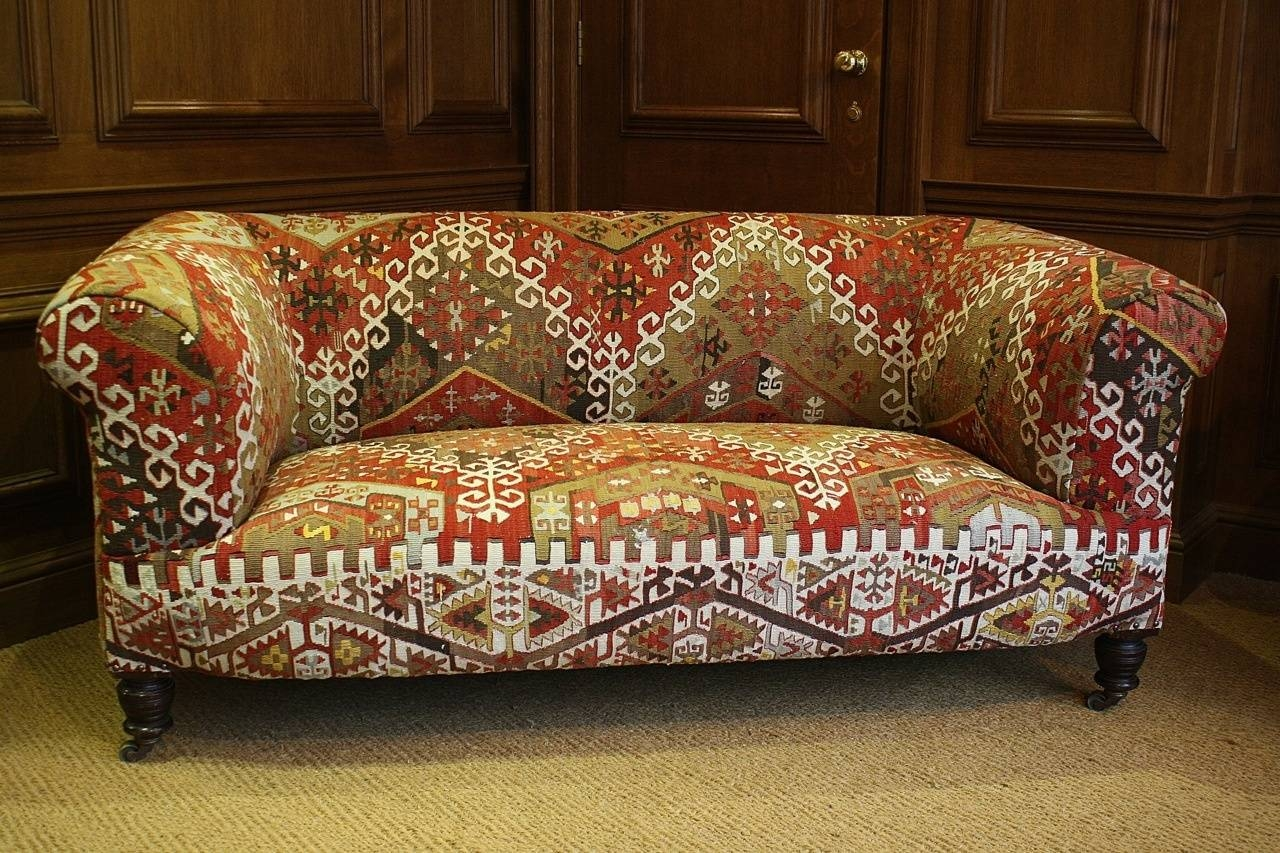 Storage Kilim Upholstered Antique Chesterfield Sofa Antique Best throughout Vintage Chesterfield Sofas (Image 15 of 30)