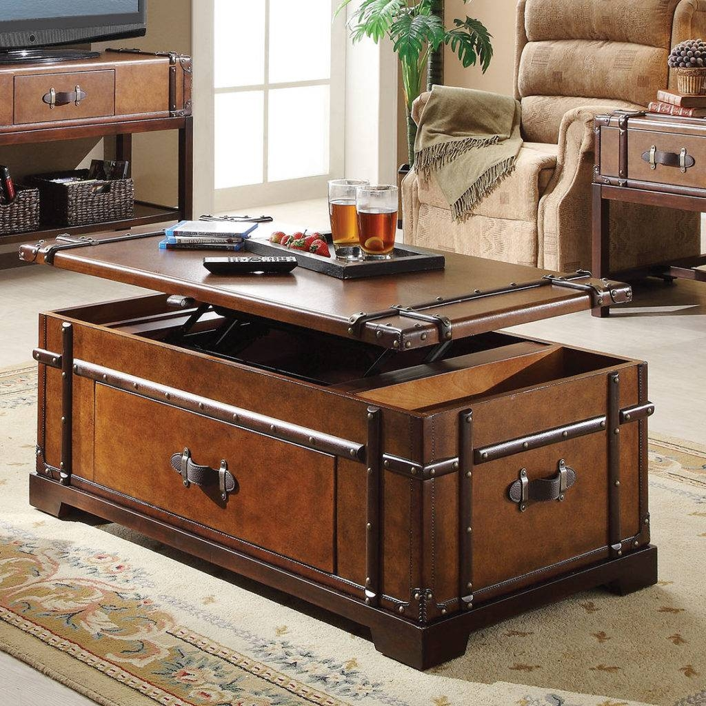Storage Leather Trunk Coffee Table Aviator Trunk Coffee Table with regard to Trunks Coffee Tables (Image 26 of 30)