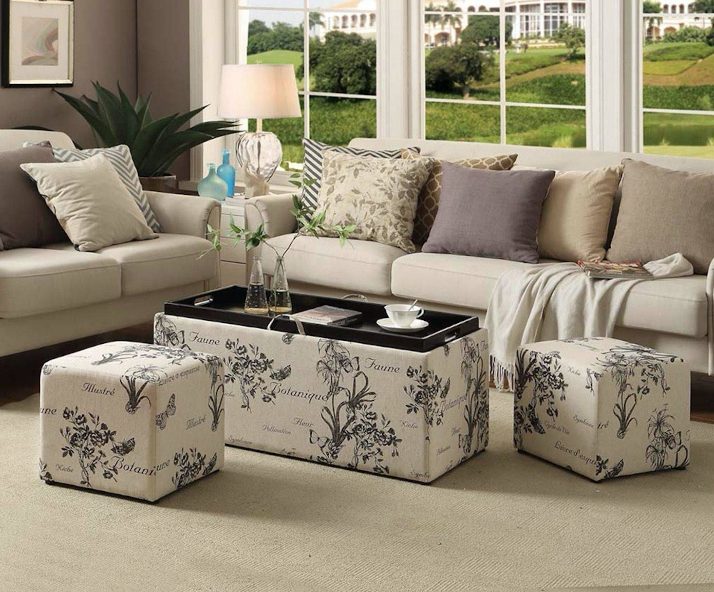 Storage Ottoman Bench Coffee Table Footstool Furniture Tray Fabric pertaining to Footstool Coffee Tables (Image 27 of 30)