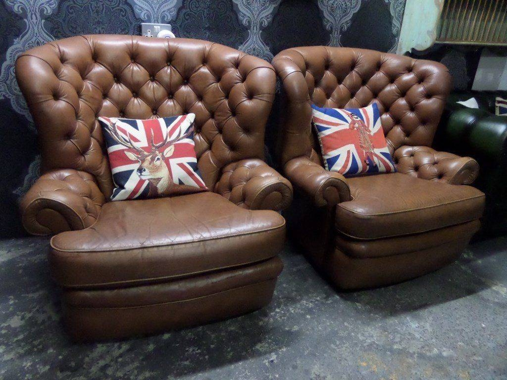Stunning Chesterfield Large Monk Chairs In Tan Brown Leather - 2 with Monk Chairs (Image 28 of 30)