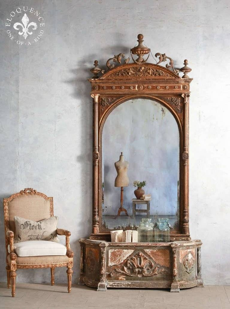 Stunning Large Antique Mirror With Planter At 1Stdibs intended for Large Antiqued Mirrors (Image 25 of 25)
