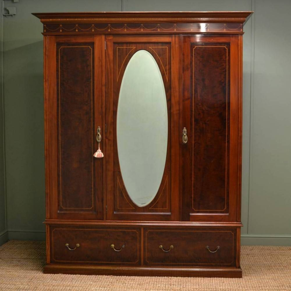 Stunning Quality Antique Mahogany Triple Wardrobe | 260279 throughout Antique Triple Wardrobes (Image 13 of 15)
