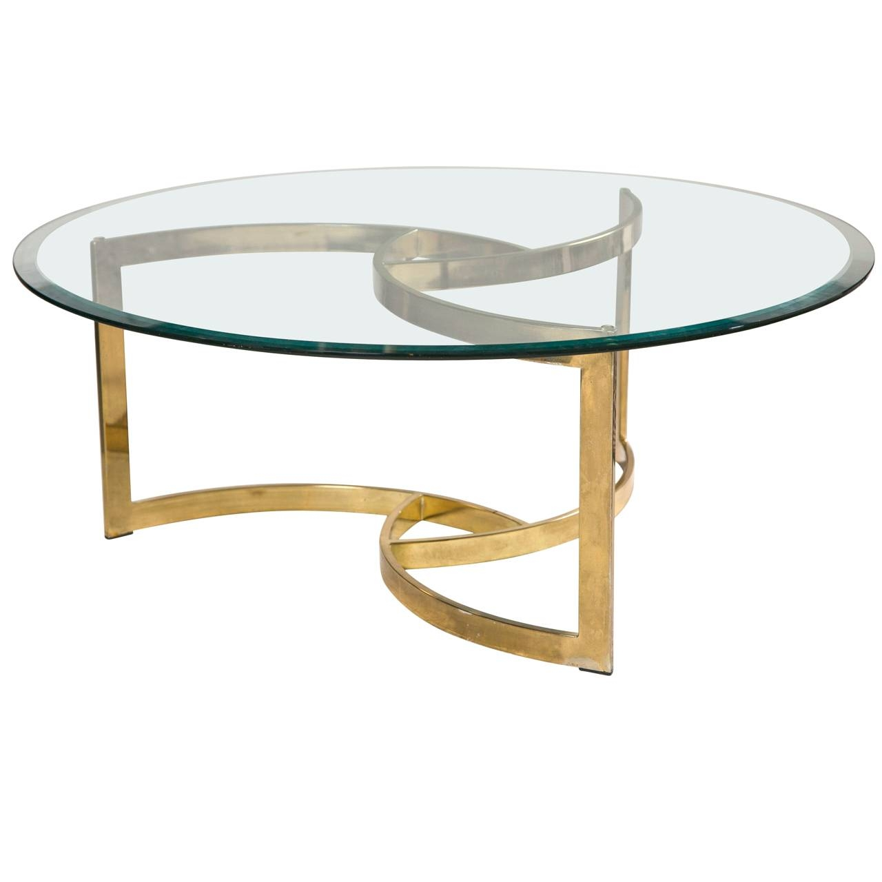 Stunning Round Metal And Glass Coffee Table With Antique And throughout Vintage Glass Top Coffee Tables (Image 18 of 30)