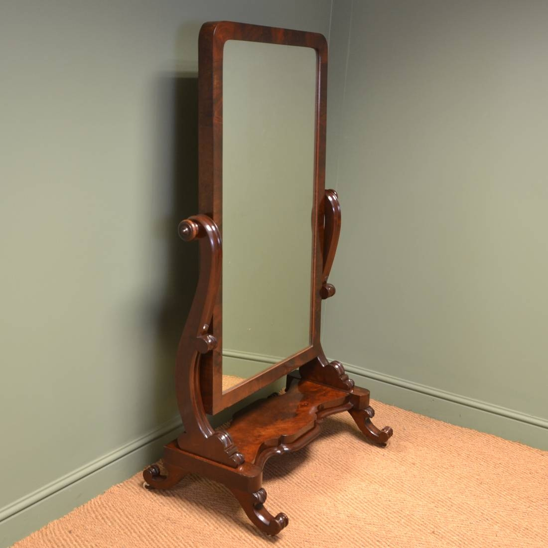 Stunning Victorian Full Length Mahogany Antique Cheval Mirror throughout Victorian Full Length Mirrors (Image 24 of 25)