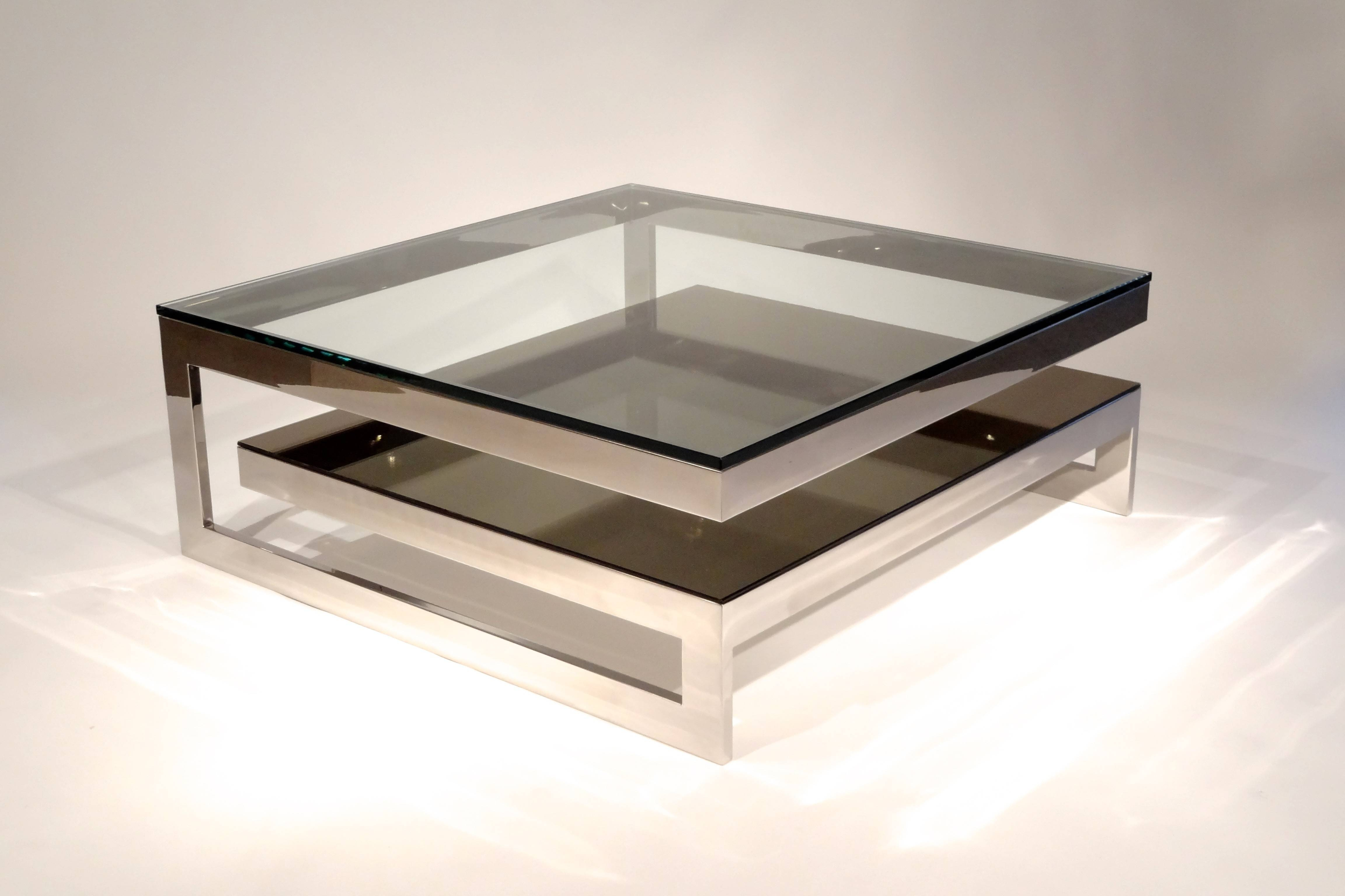 Sturdy Modern Glass Coffee Table Metal Legs Construction 4 Legs with regard to Chrome And Glass Coffee Tables (Image 25 of 30)