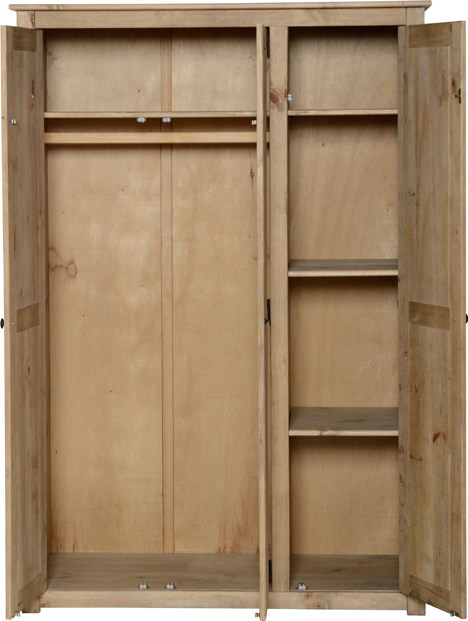 Style 3 Door Distressed Pine Wardrobe With Hanging And 3 Shelves in Pine Wardrobe With Drawers And Shelves (Image 27 of 30)